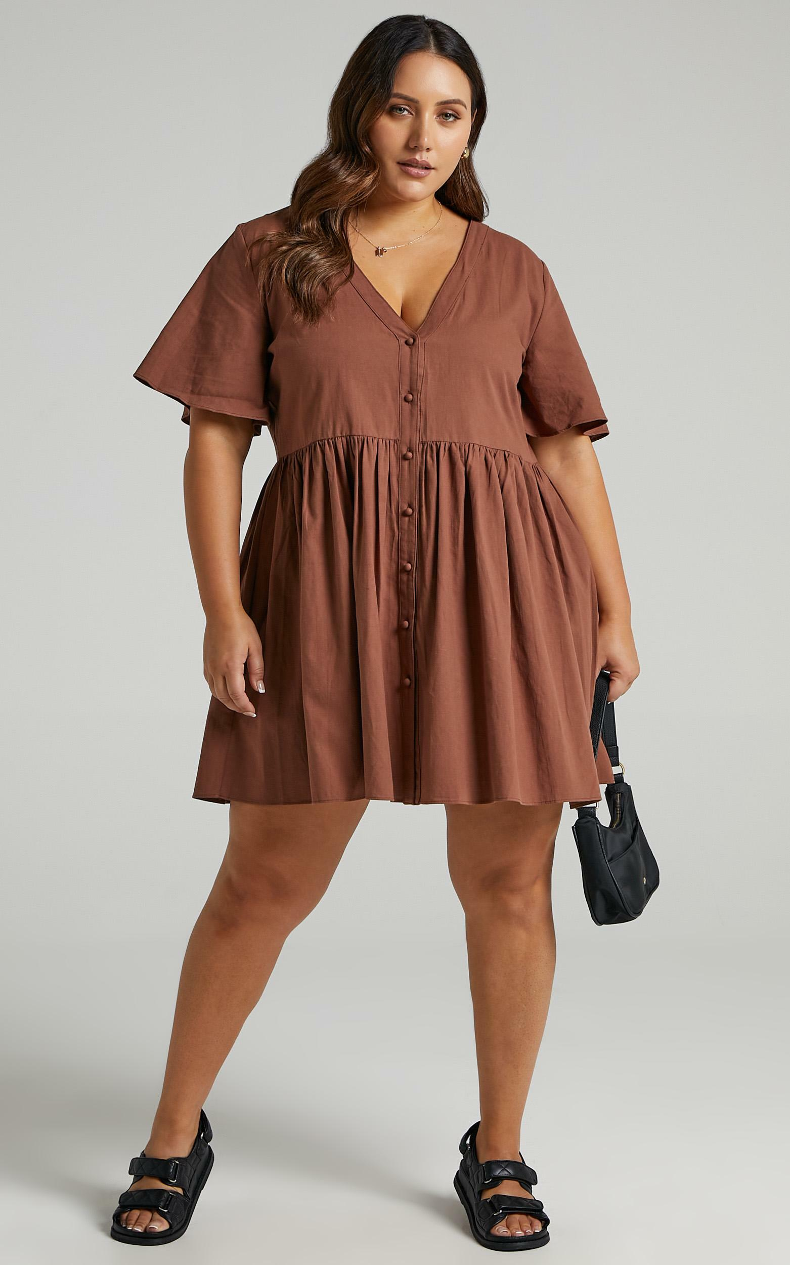 Staycation Smock Button Up Mini Dress in Chocolate - 06, BRN5, hi-res image number null