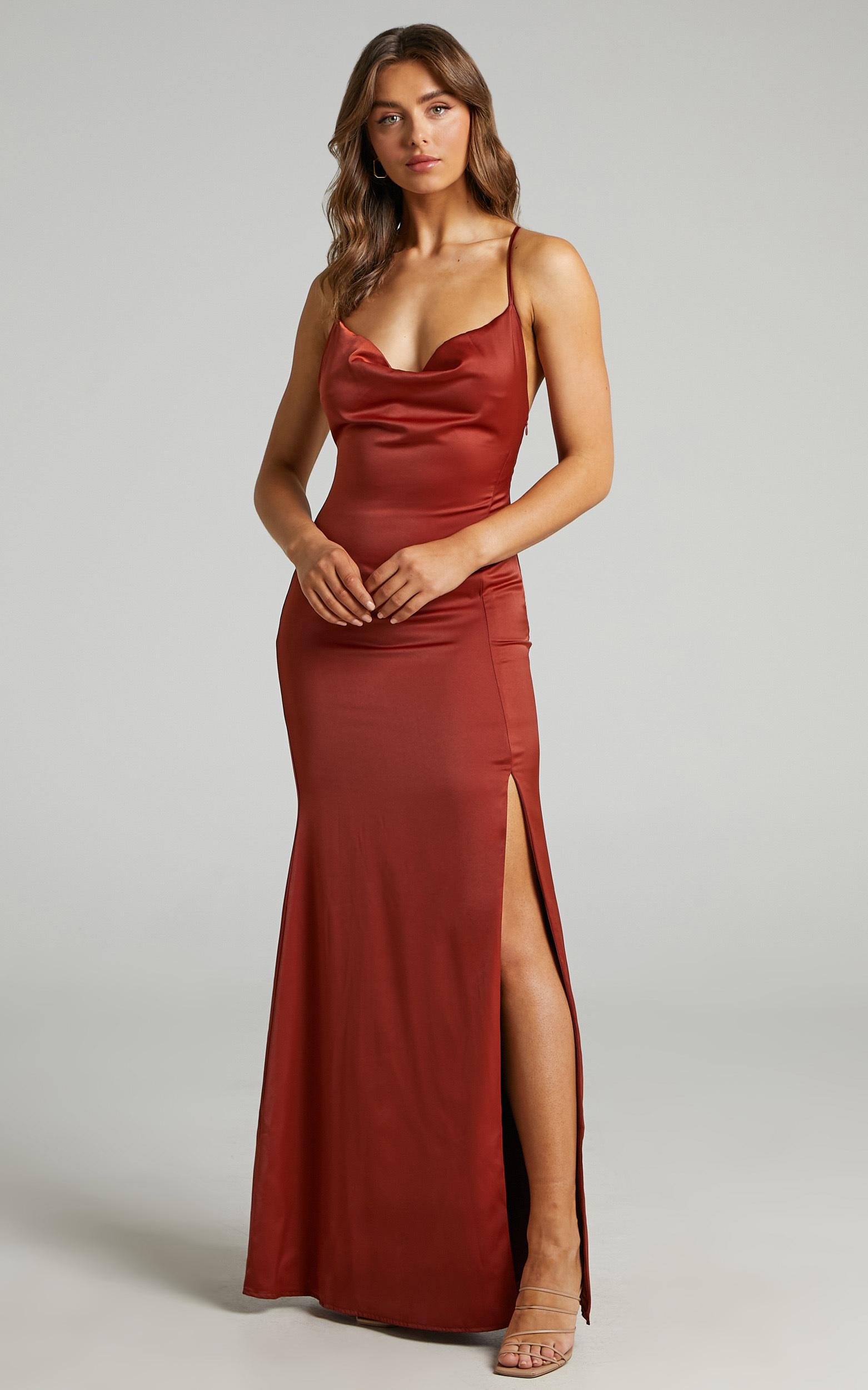 A Final Toast Dress in Copper Satin - 06, BRN1, hi-res image number null