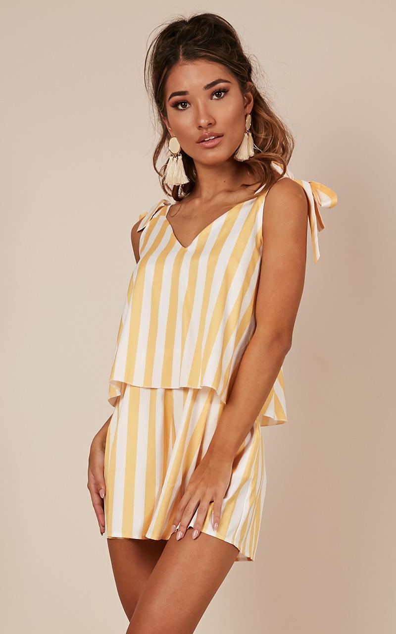 Out Of Luck Playsuit in mango stripe - 20 (XXXXL), Yellow, hi-res image number null