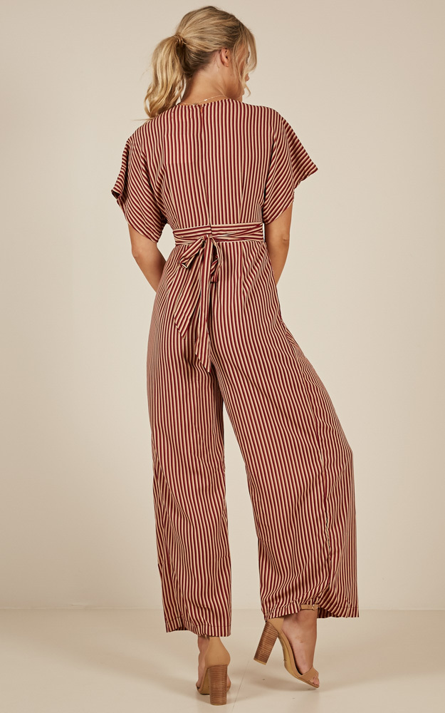 Midnight City jumpsuit in wine stripe - 14 (XL), Wine, hi-res image number null