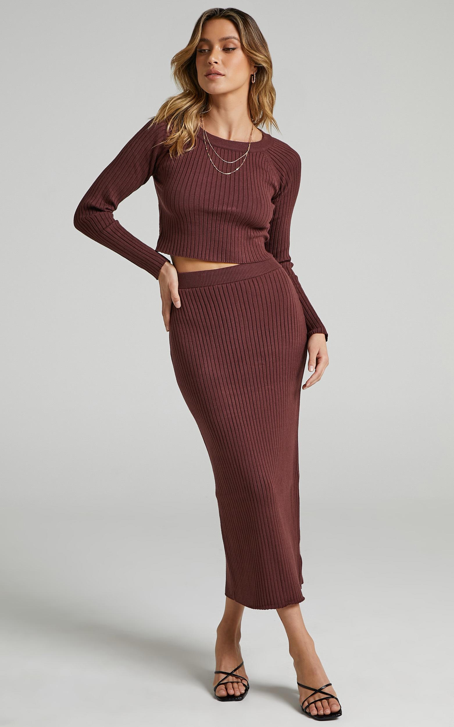 Yolanda Midi Knit Skirt in Chocolate - L, BRN1, hi-res image number null