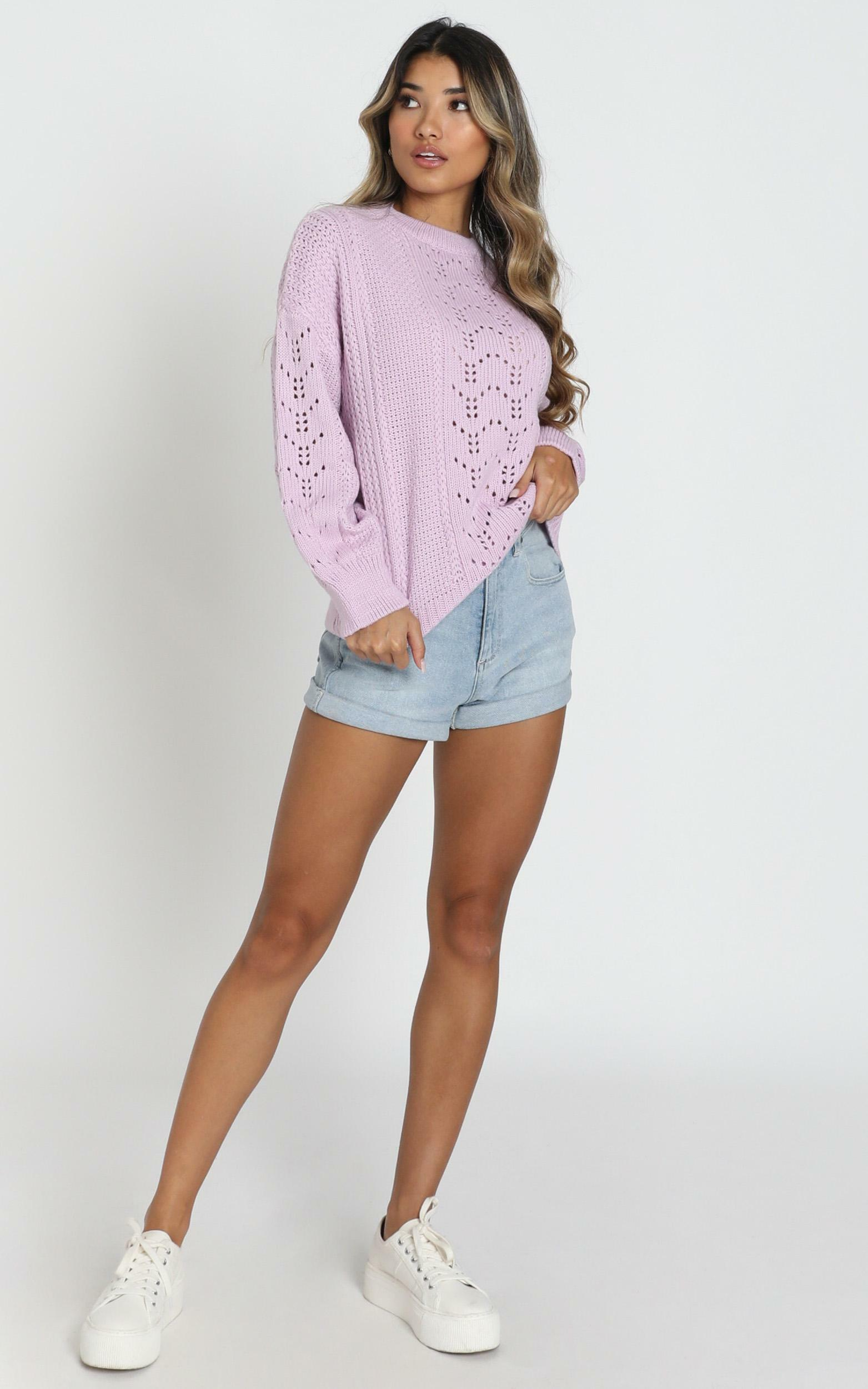 Cabin In The Woods Knit Jumper In Lilac - 20 (XXXXL), Purple, hi-res image number null