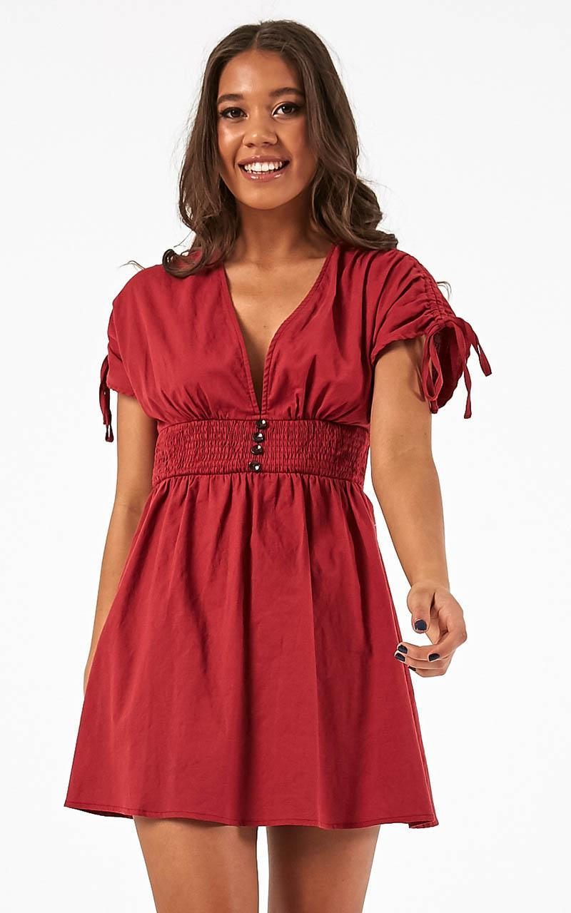 You Go Girl Dress in chilli linen look - 14 (XL), Red, hi-res image number null