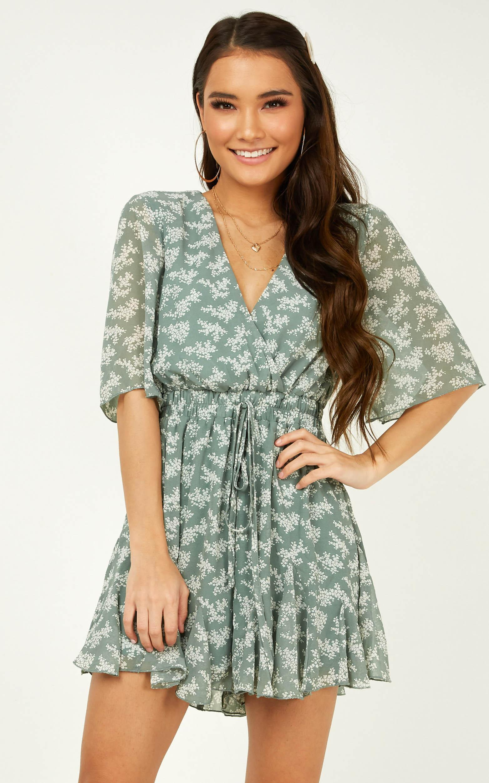 New Memories Playsuit in teal floral - 20 (XXXXL), Green, hi-res image number null