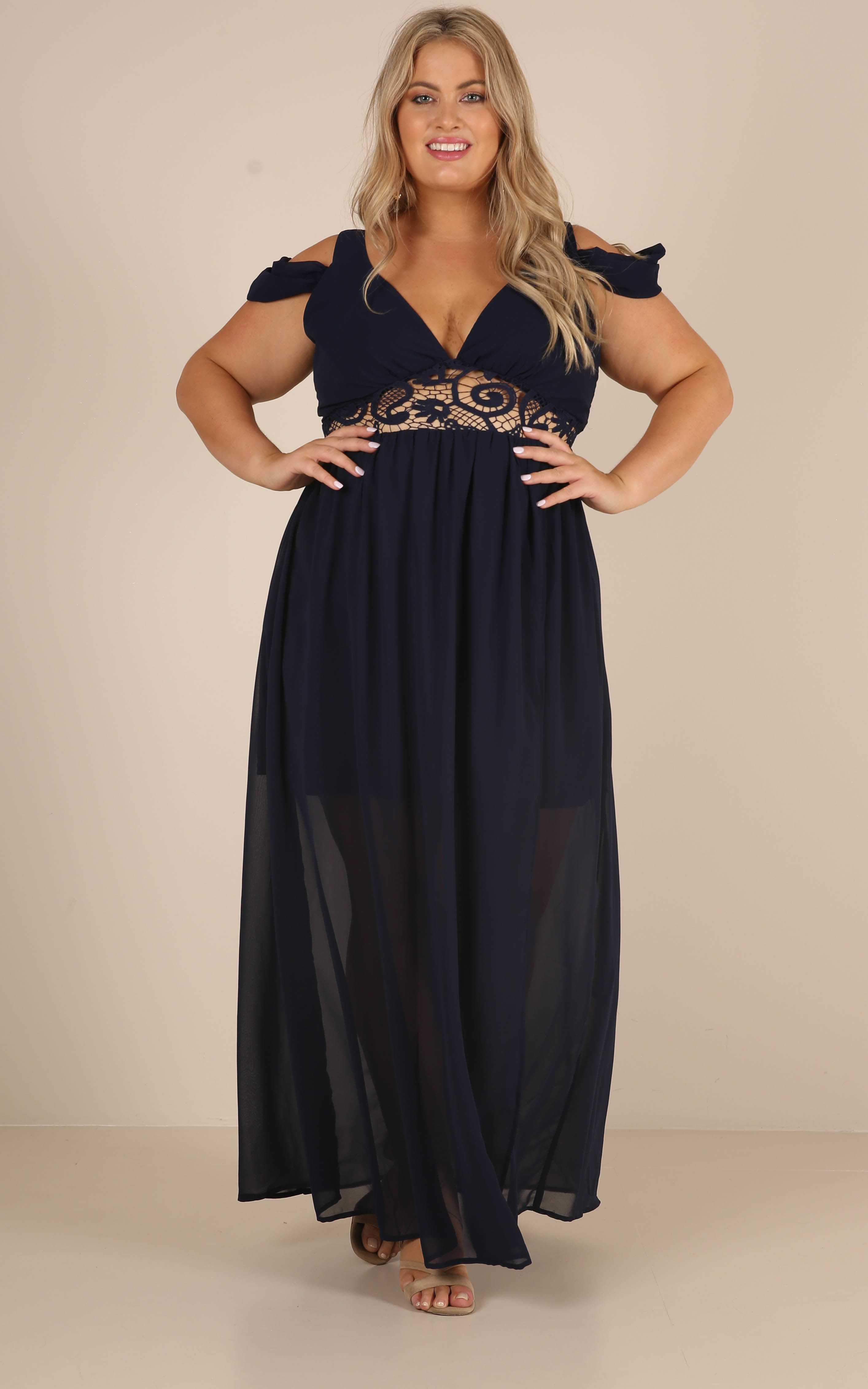 Make An Entrance maxi dress in navy - 20 (XXXXL), Navy, hi-res image number null