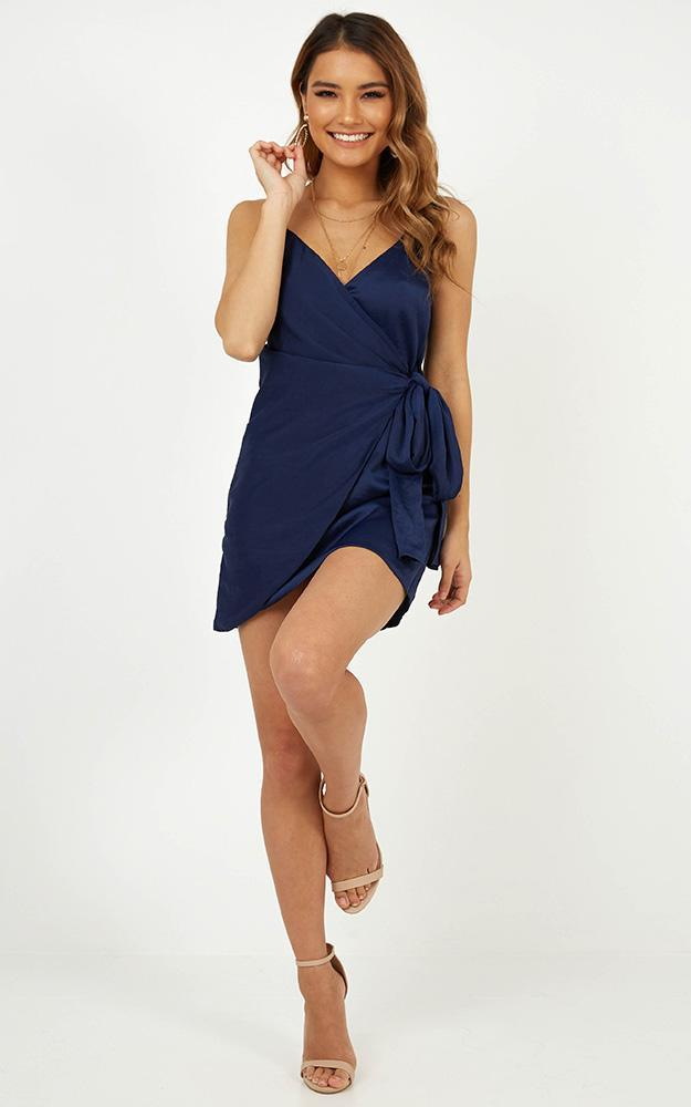 Someone New Dress In Navy Satin - 14 (XL), Navy, hi-res image number null