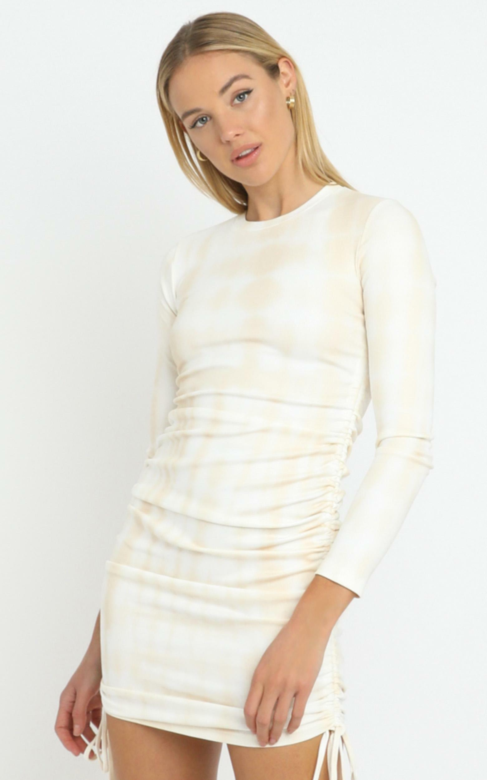 Lioness - Military Minds Long Sleeve Dress in Ecru Tie Dye - 12 (L), Cream, hi-res image number null