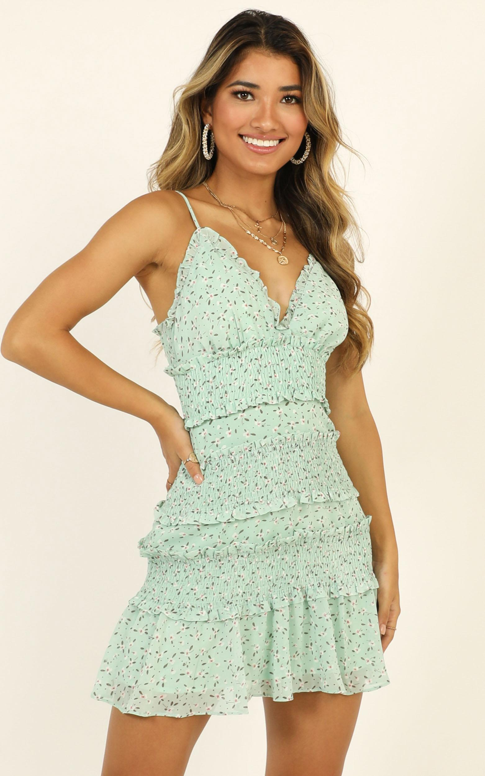 The Final Night Dress In green floral - 12 (L), Green, hi-res image number null