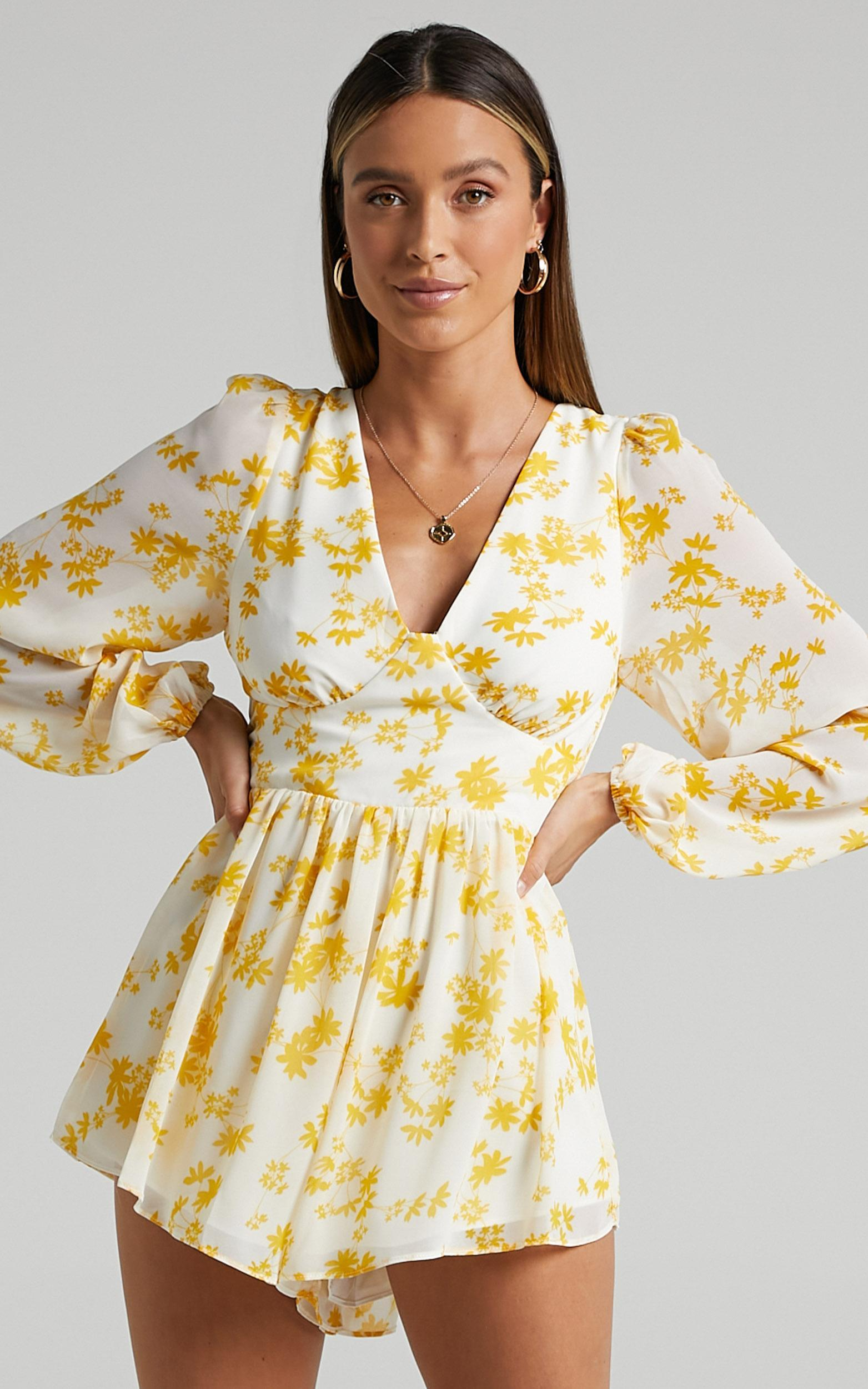 Anika Strappy Back Playsuit in yellow floral - 4 (XXS), Yellow, hi-res image number null