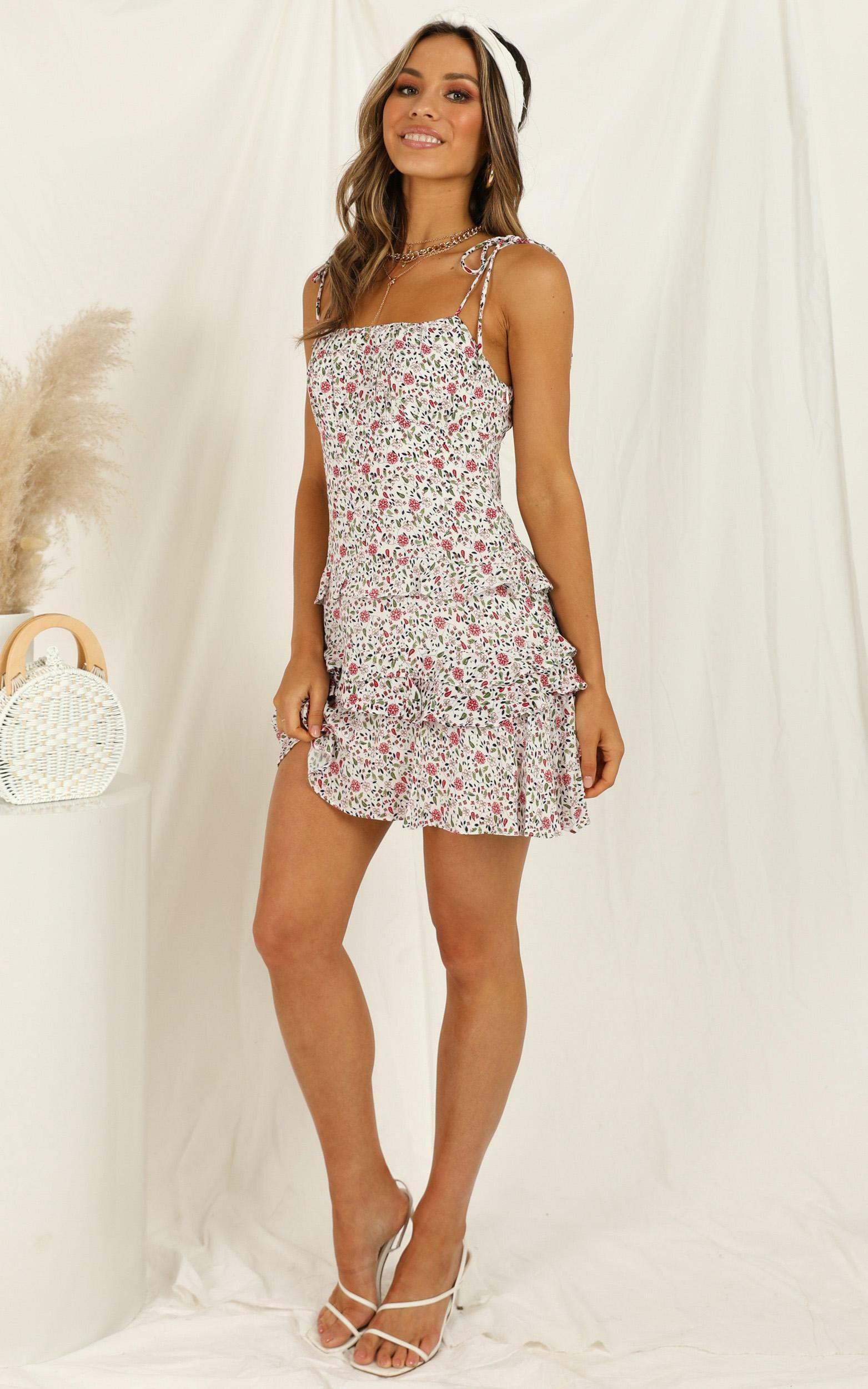 Puffy Clouds dress in white floral - 12 (L), White, hi-res image number null