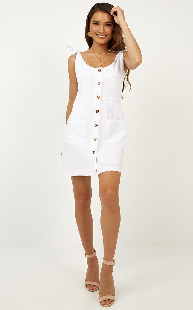 Seen on Stage Dress In White Linen Look - 12 (L), White, hi-res image number null