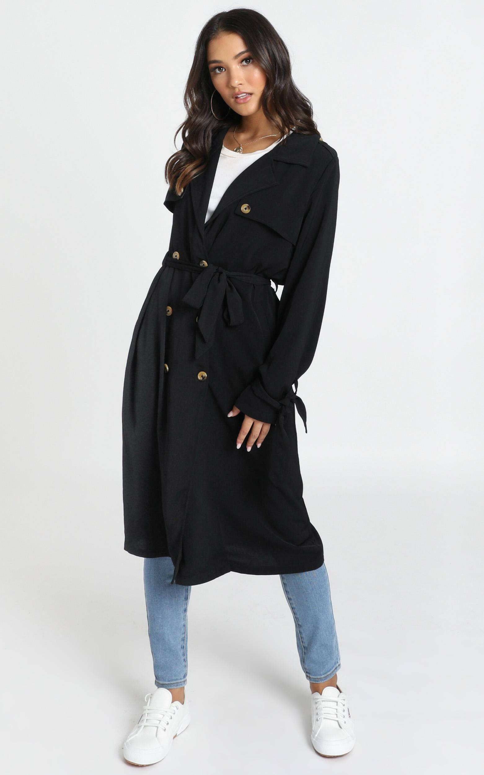 Stepping It Up Trench Coat In Black - 14 (XL), Black, hi-res image number null