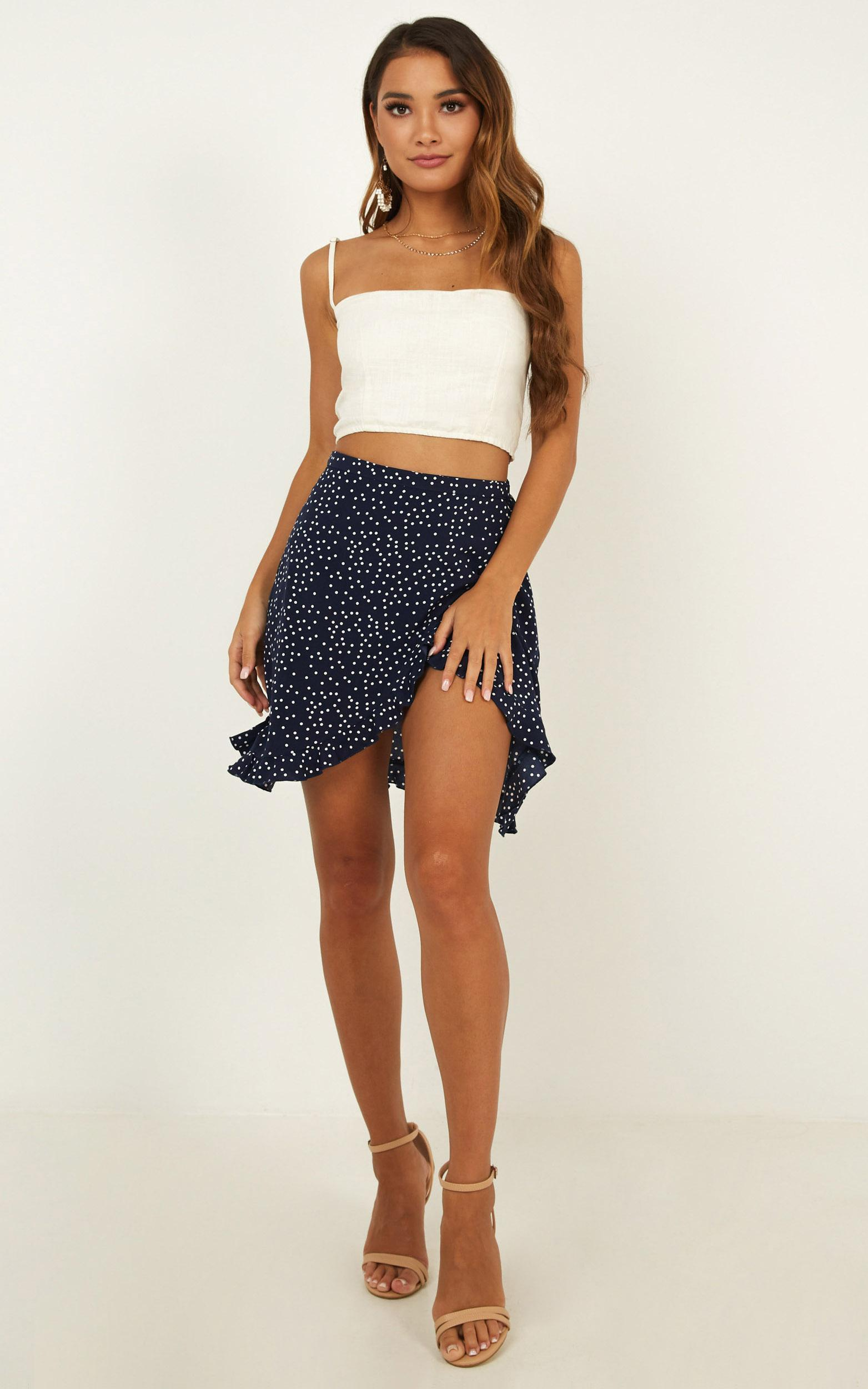 Started with a kiss Skirt in navy spot - 20 (XXXXL), Navy, hi-res image number null