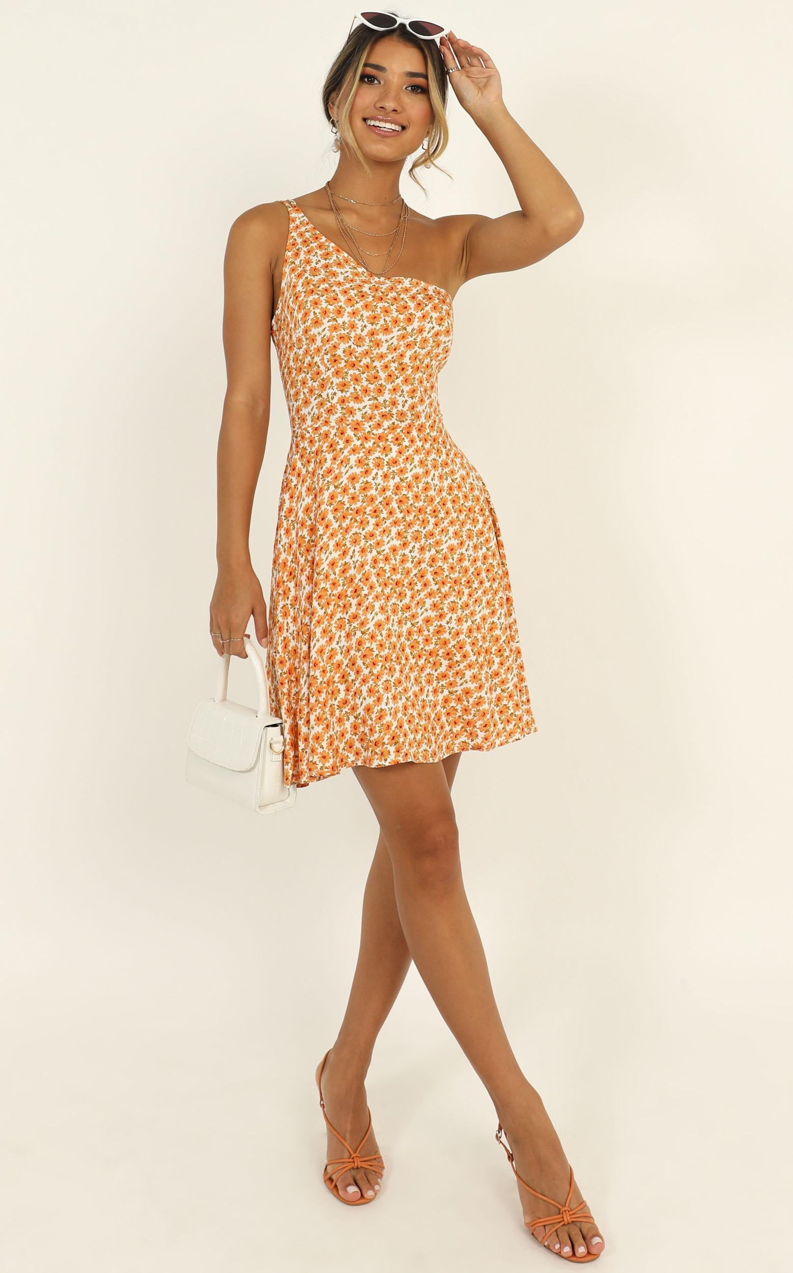 Two Is Better Than One dress in orange floral - 16 (XXL), Orange, hi-res image number null