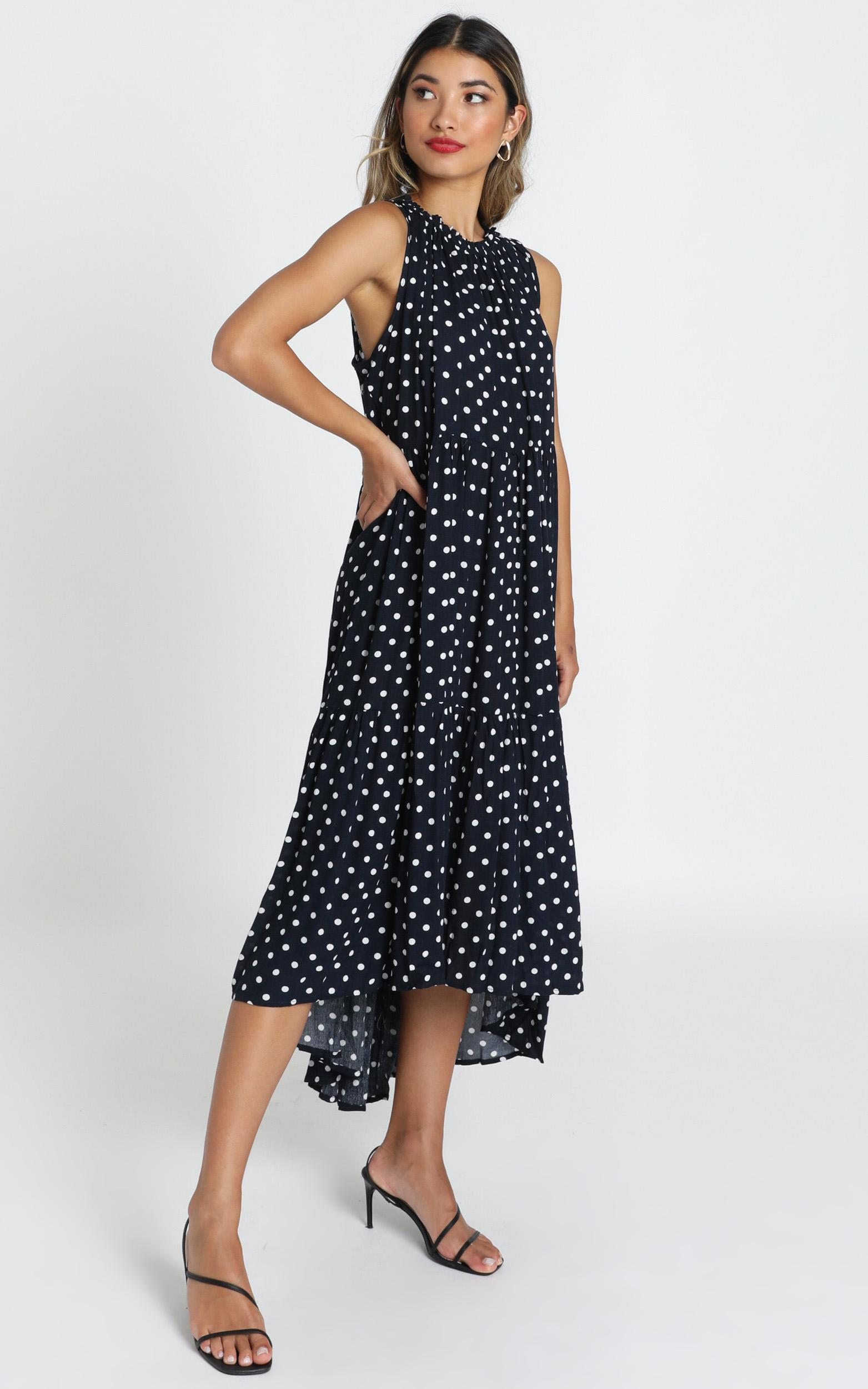 Crack The Case dress in navy spot - M/L, Navy, hi-res image number null