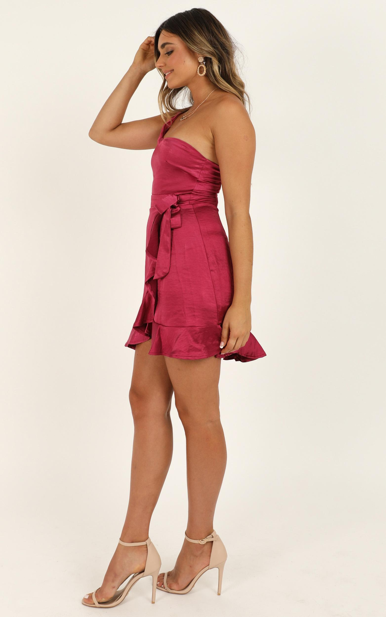Faking Happy Dress In Berry Satin - 16 (XXL), Pink, hi-res image number null