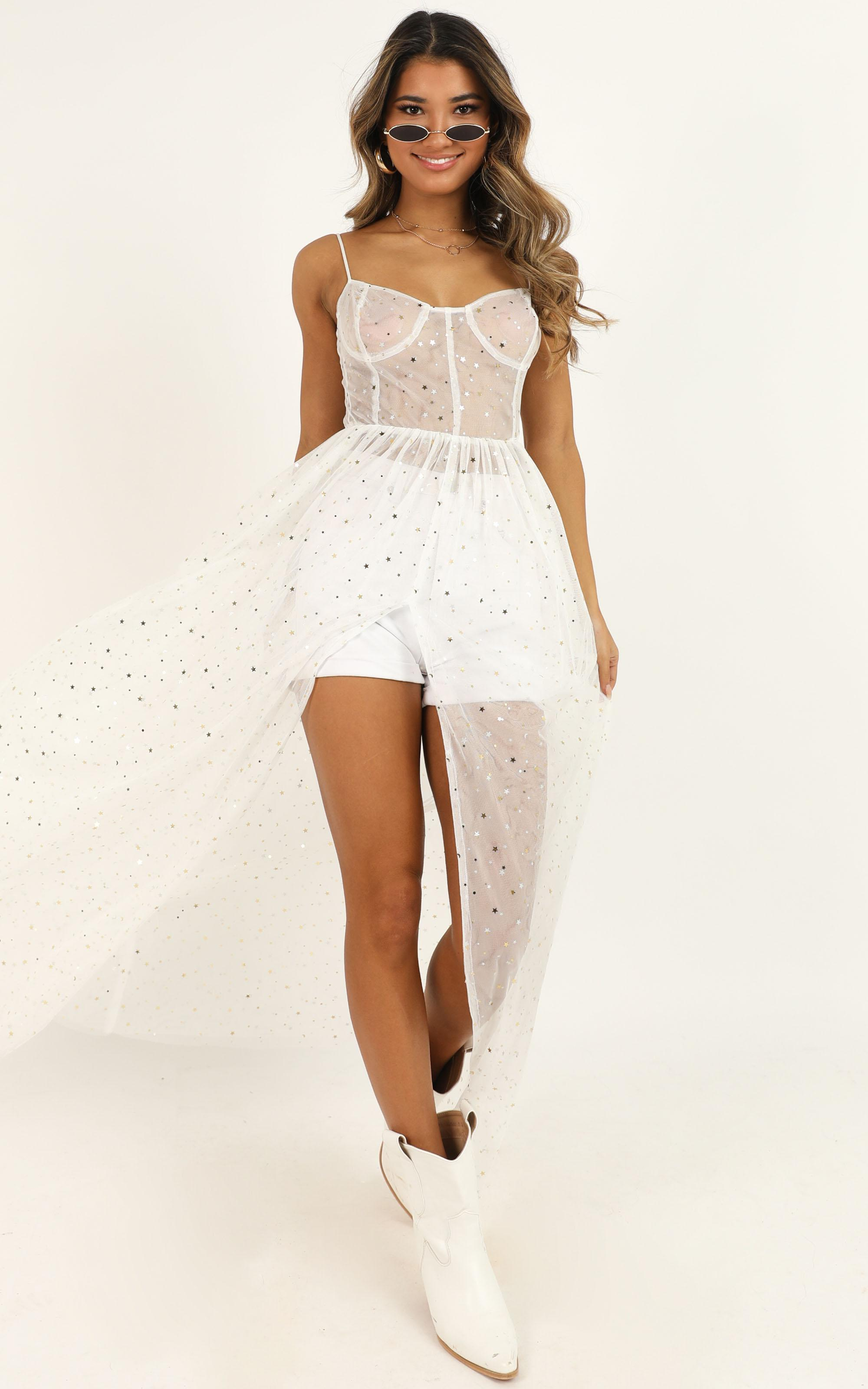 Stunning View Maxi Dress in white mesh - 20 (XXXXL), White, hi-res image number null
