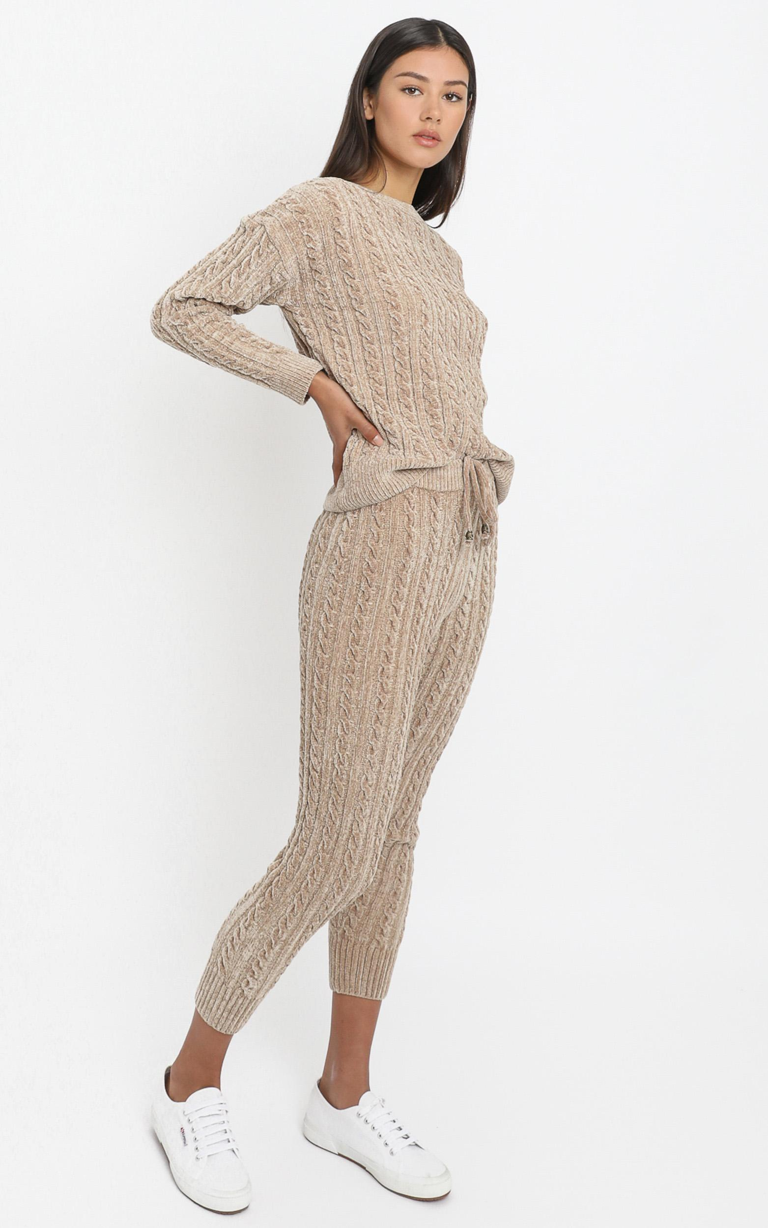 Iona Cable Knit Two Piece Set in Mocha - S, Mocha, hi-res image number null