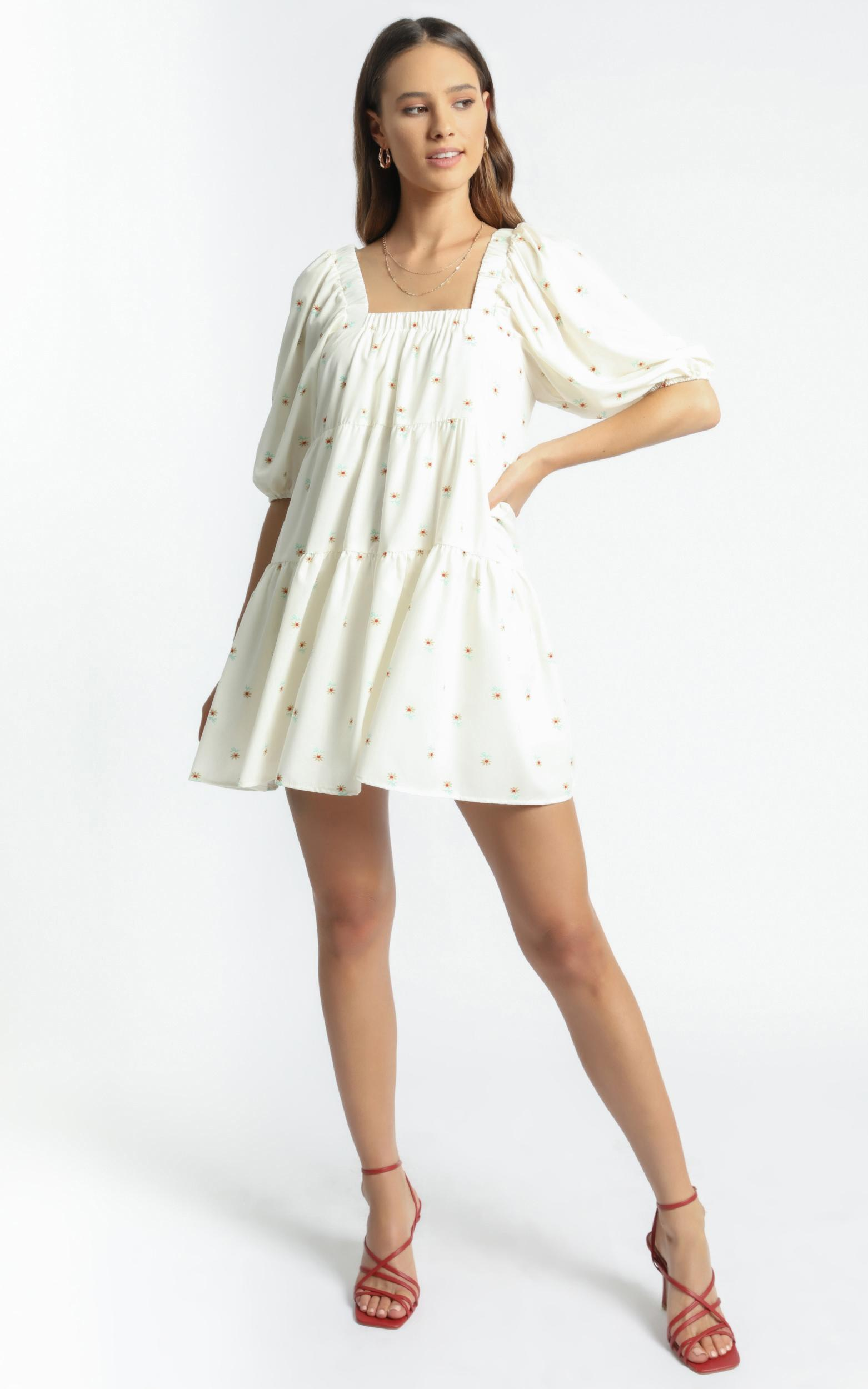 Aimee Dress in White Floral - 8 (S), White, hi-res image number null
