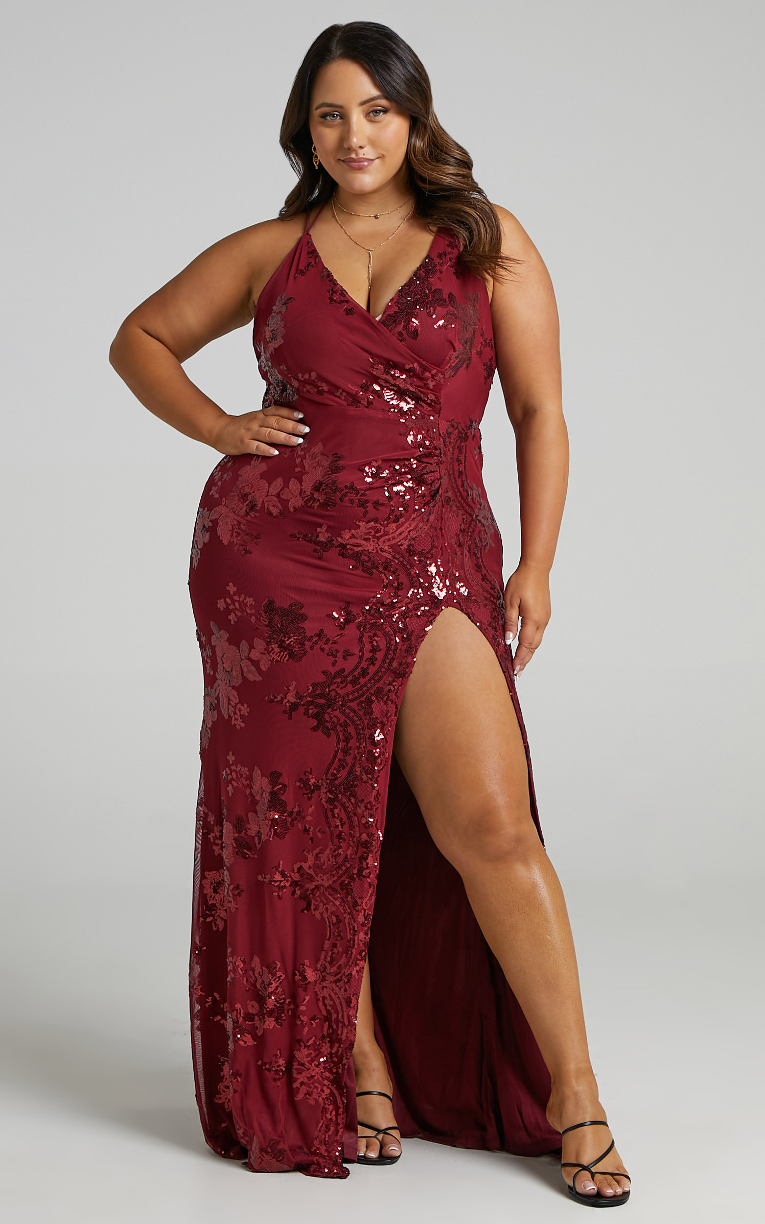 Out Till Dawn Split Maxi Dress in Wine Sequin - 04, WNE5, hi-res image number null