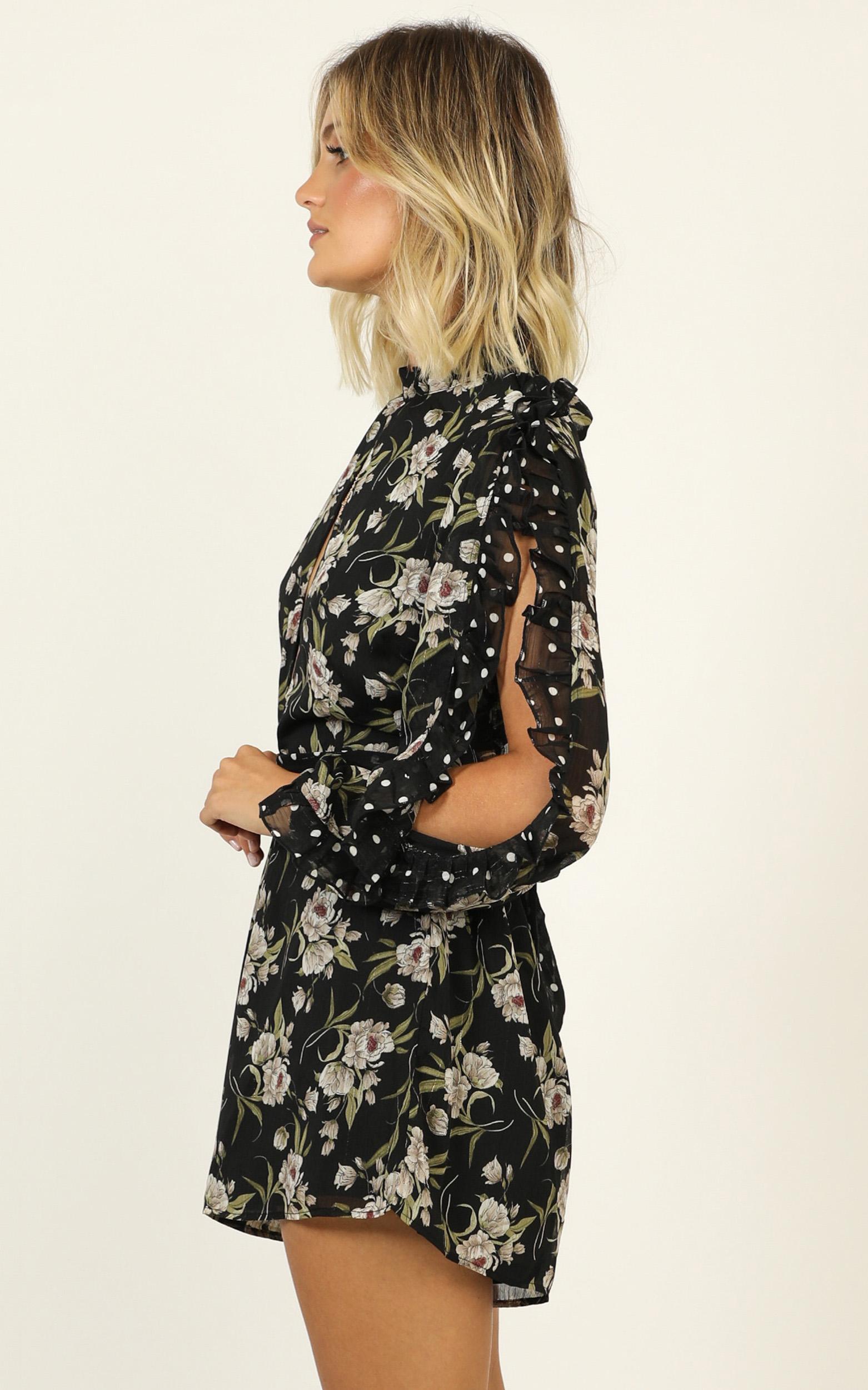 Lets Go On A Date Playsuit in black floral - 14 (XL), Black, hi-res image number null