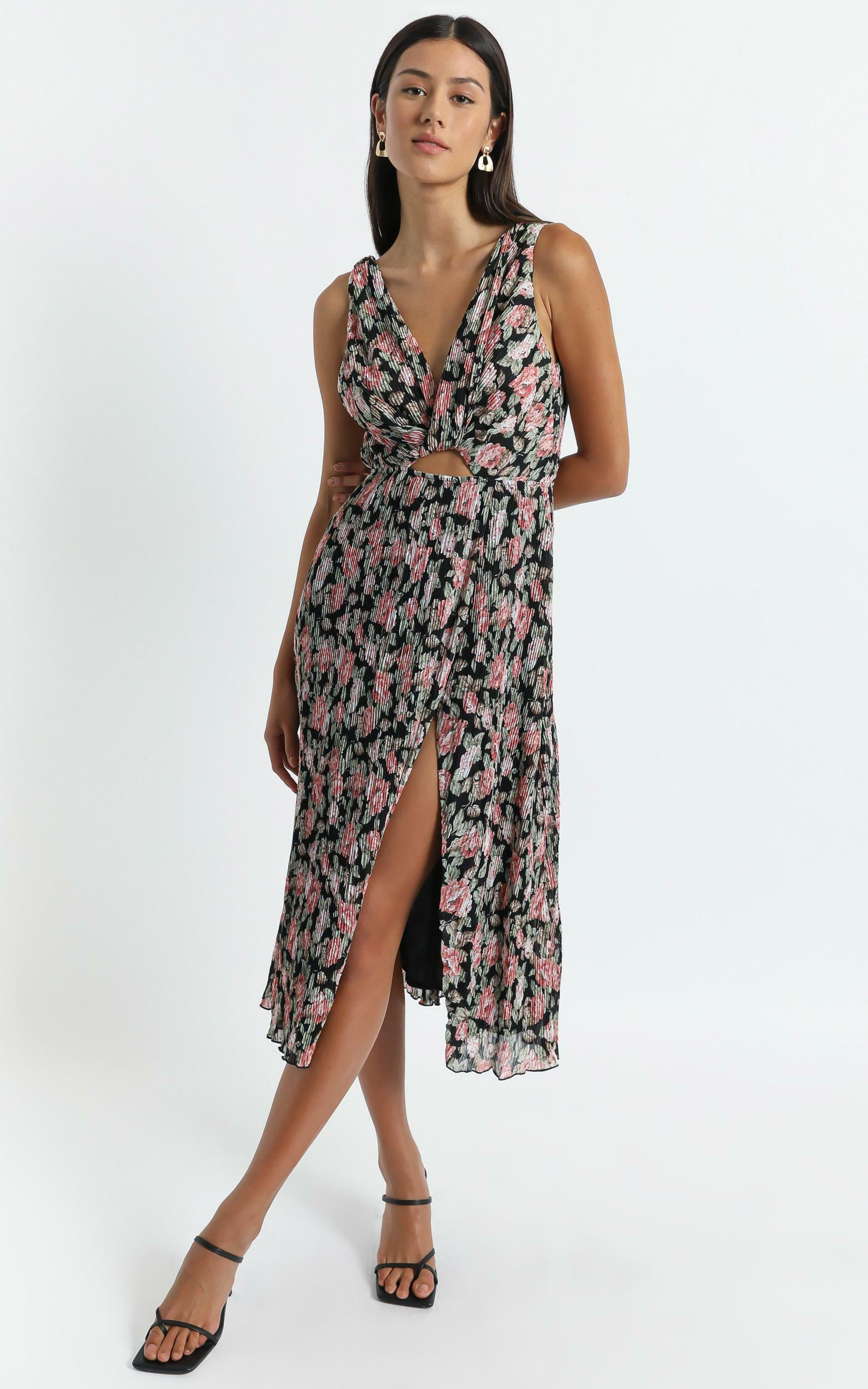 Amelia Midi Dress in Pleated Rose Floral - 04, PNK1, hi-res image number null