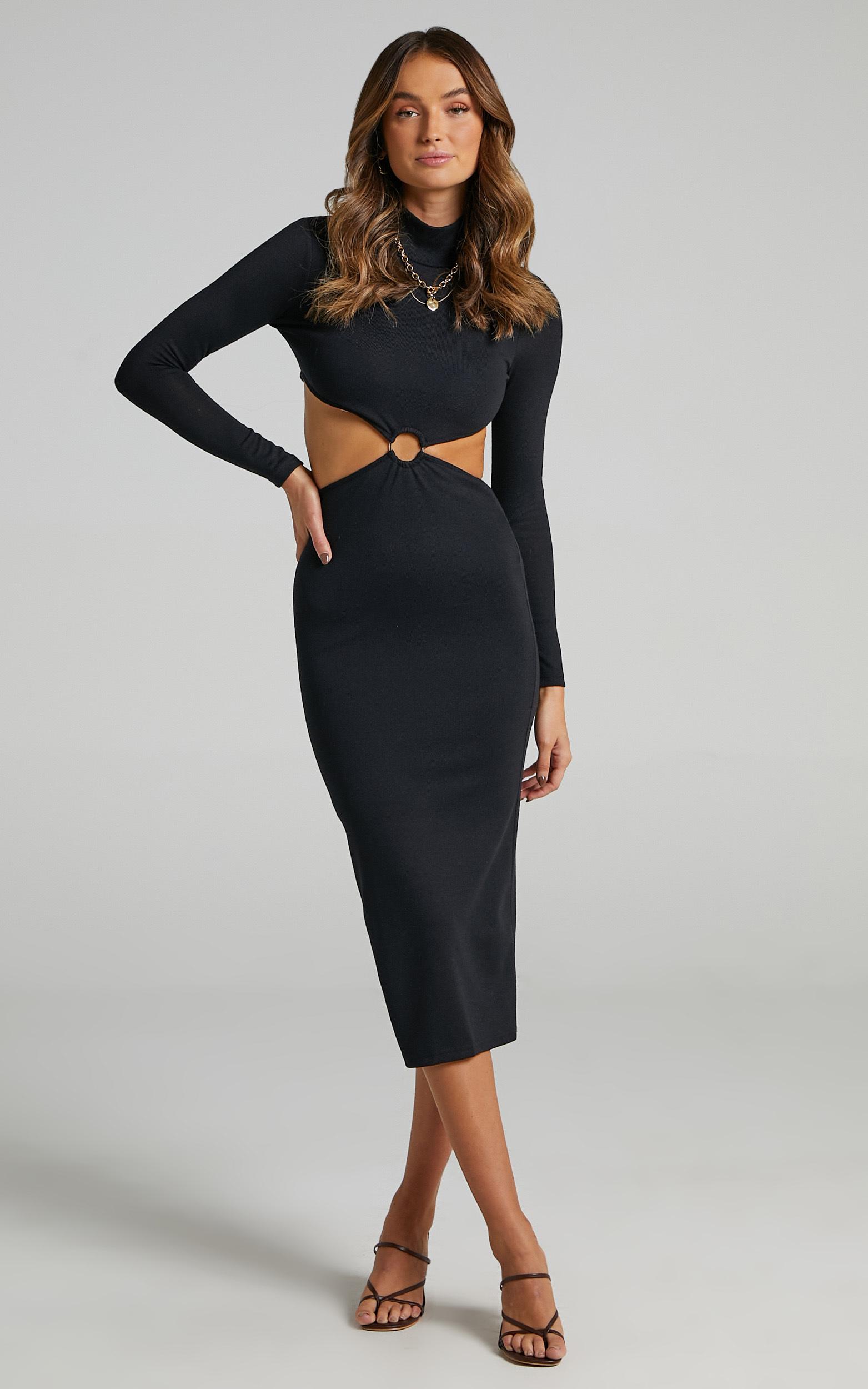 Charlene Side Cut Out High Neck Midi Dress in Black - 06, BLK1, hi-res image number null