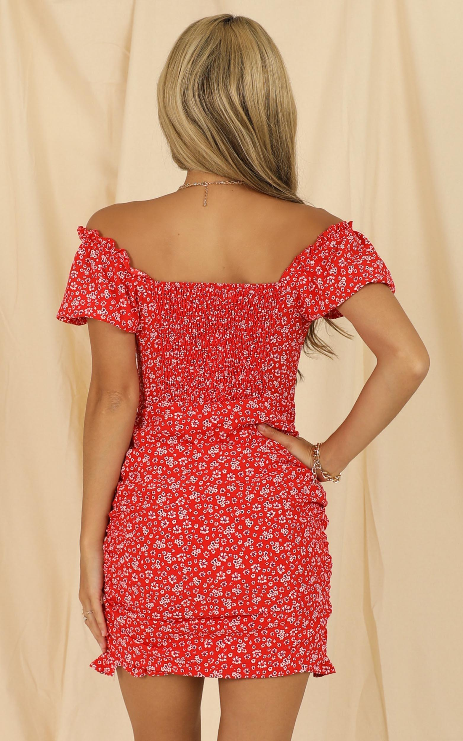 Pick Me First Dress In Red Floral - 16 (XXL), Red, hi-res image number null