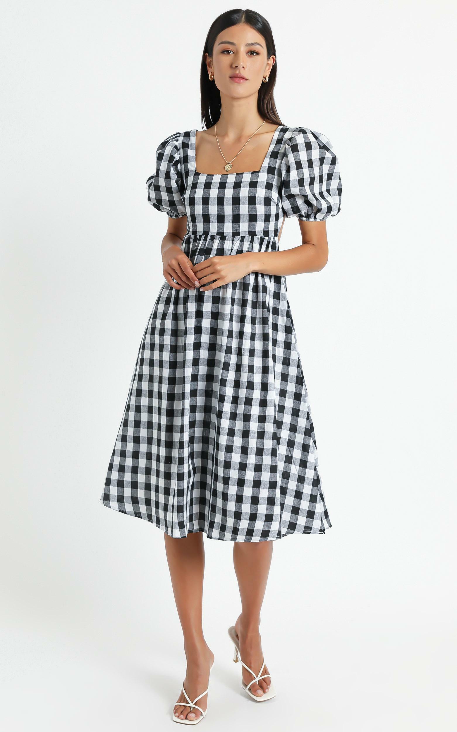 Bennie Dress in Black Gingham - 6 (XS), Black, hi-res image number null