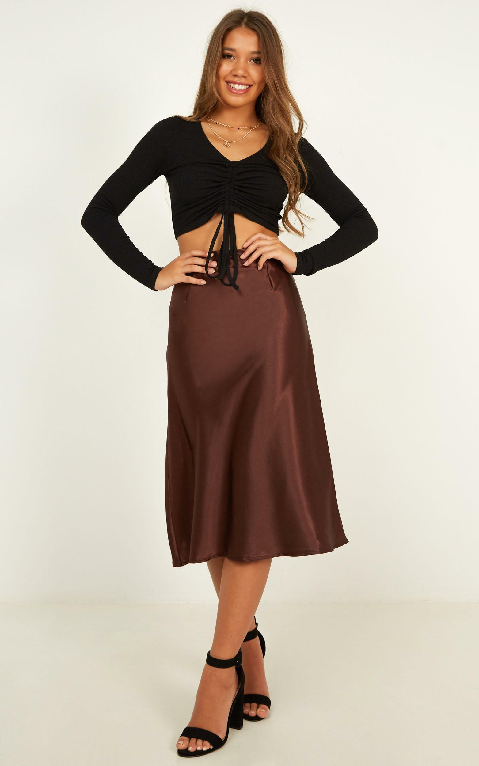 Creating Art Skirt In chocolate satin - 8 (S), BRN1, hi-res image number null