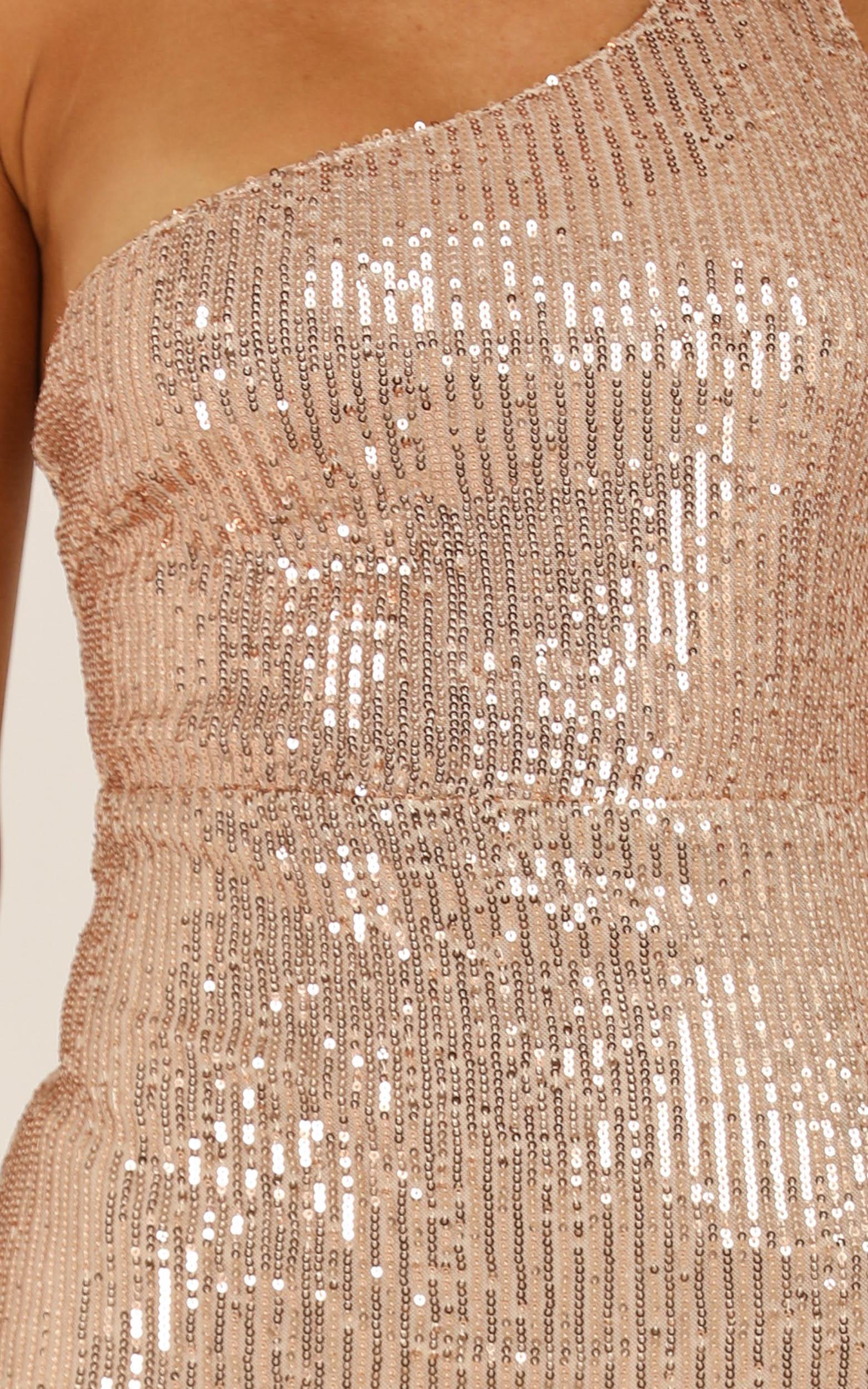 Adorn Me dress in gold sequin - 12 (L), Gold, hi-res image number null