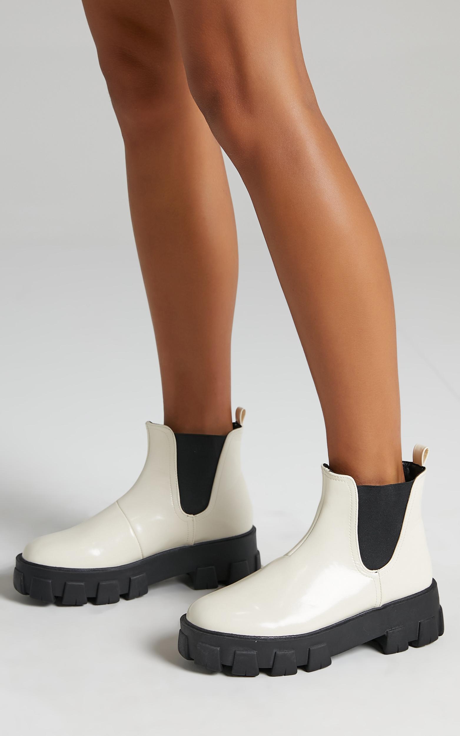 Billini - Xanthos Boots in Bone Patent - 5, Beige, hi-res image number null