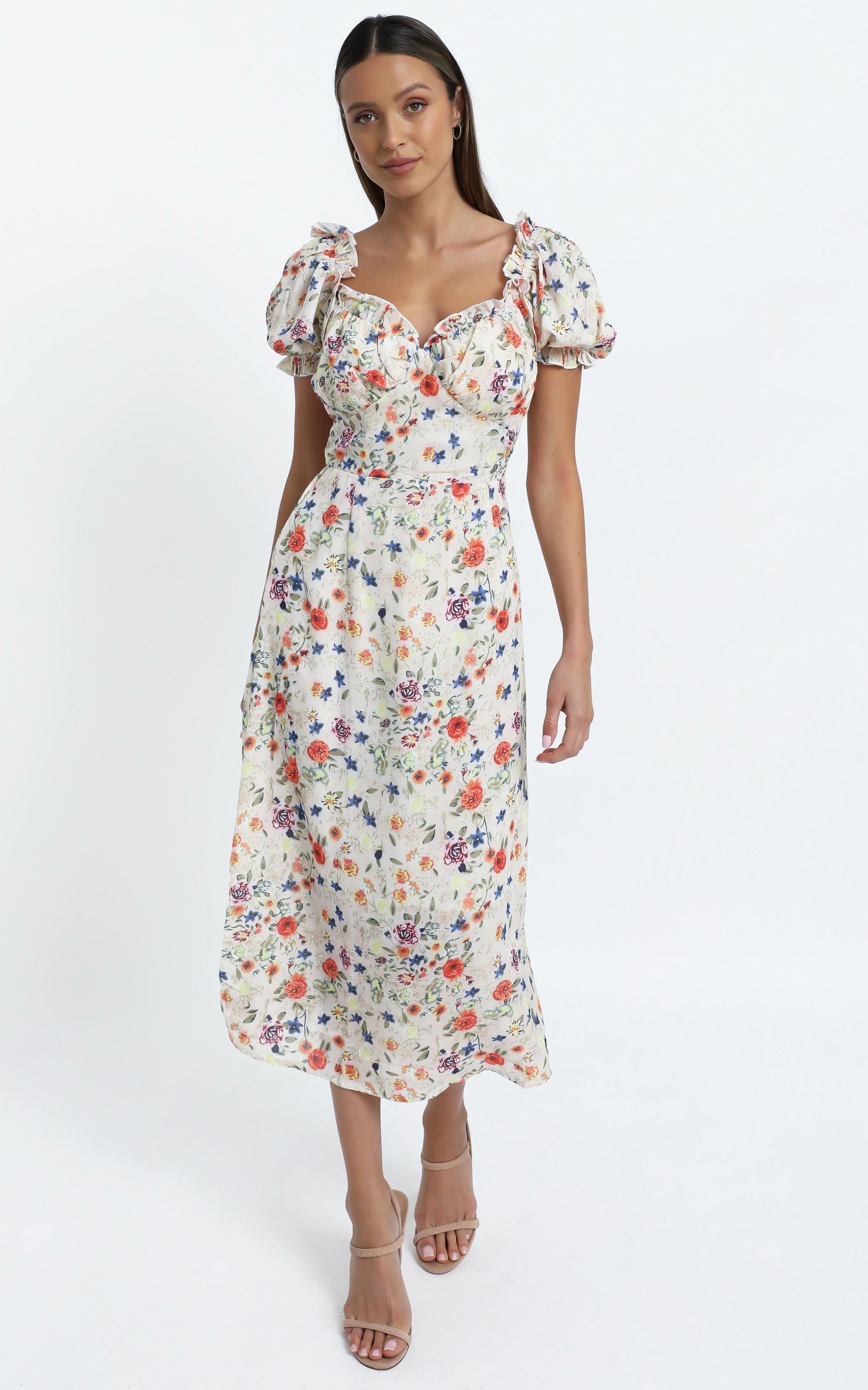 Rosie Midi Dress in Peach Floral, Multi, hi-res image number null