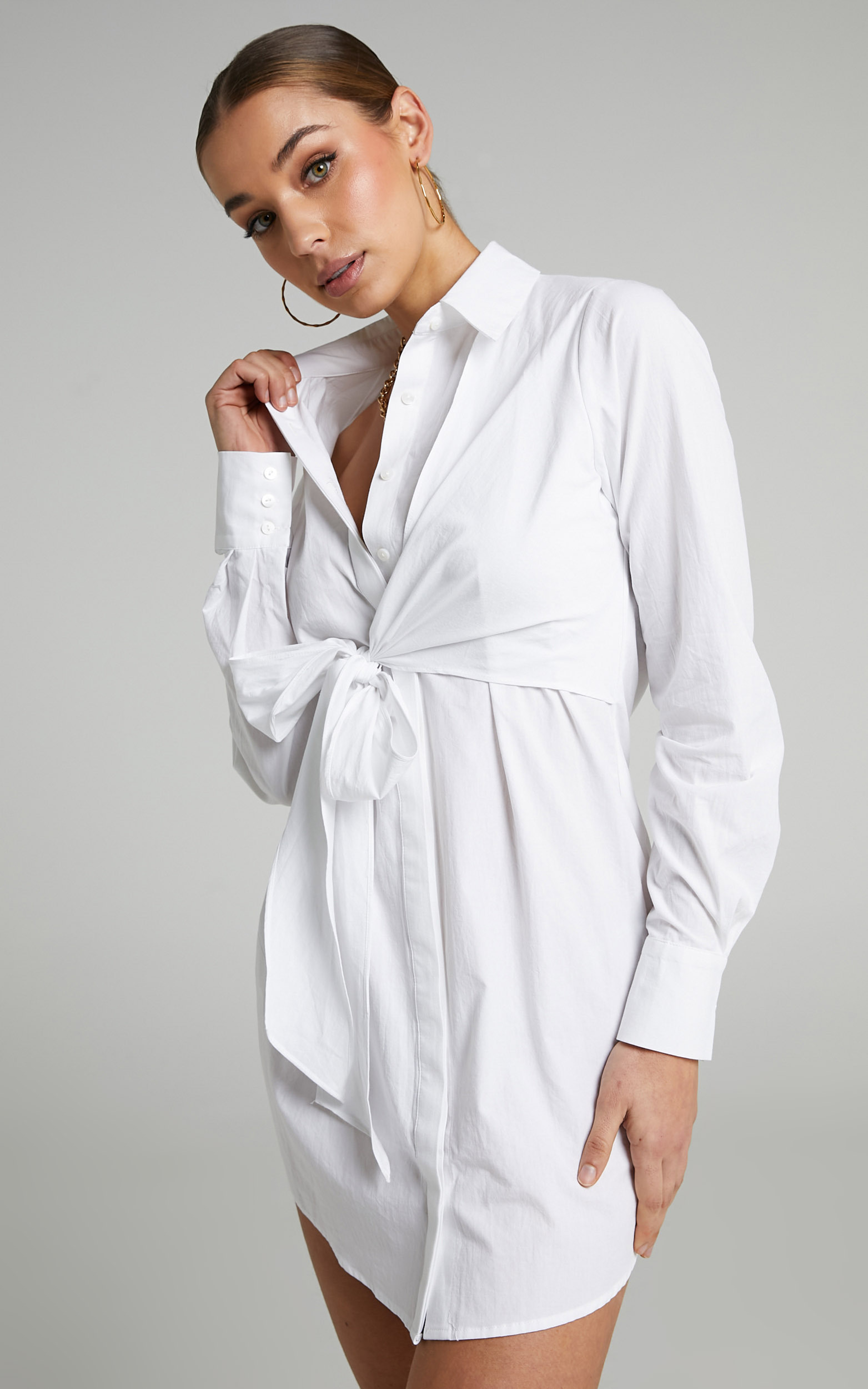Eugene Collared Shirt Dress in White - 06, WHT2, hi-res image number null