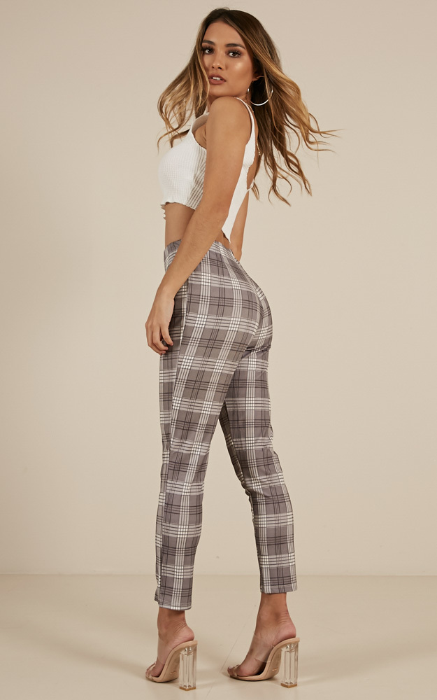 Only A Feeling jeggings in grey check - 12 (L), Grey, hi-res image number null