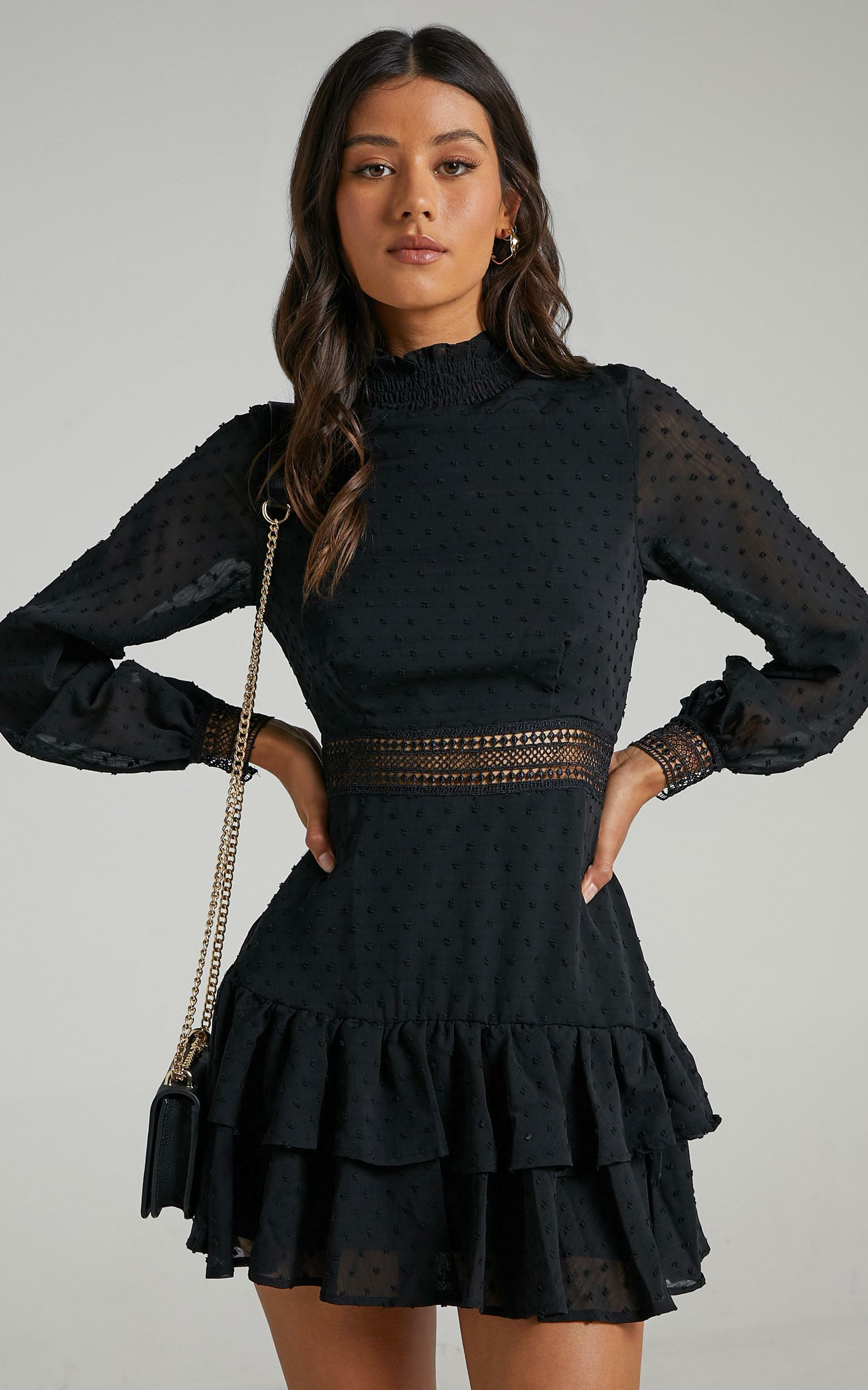 Are You Gonna Kiss Me Long Sleeve Mini Dress in Black - 20, BLK1, hi-res image number null