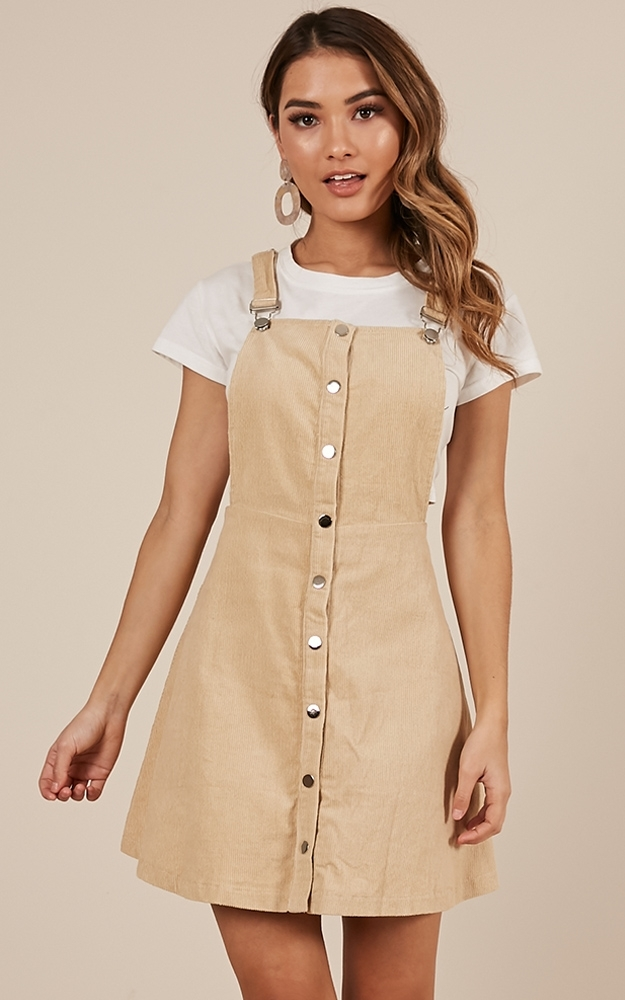 Not For Me pinafore dress in beige corduroy - 12 (L), Beige, hi-res image number null