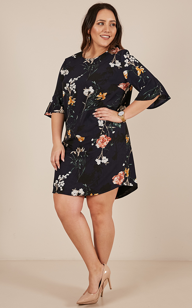 Eastern Sun shift dress in Navy Floral  - 20 (XXXXL), Navy, hi-res image number null