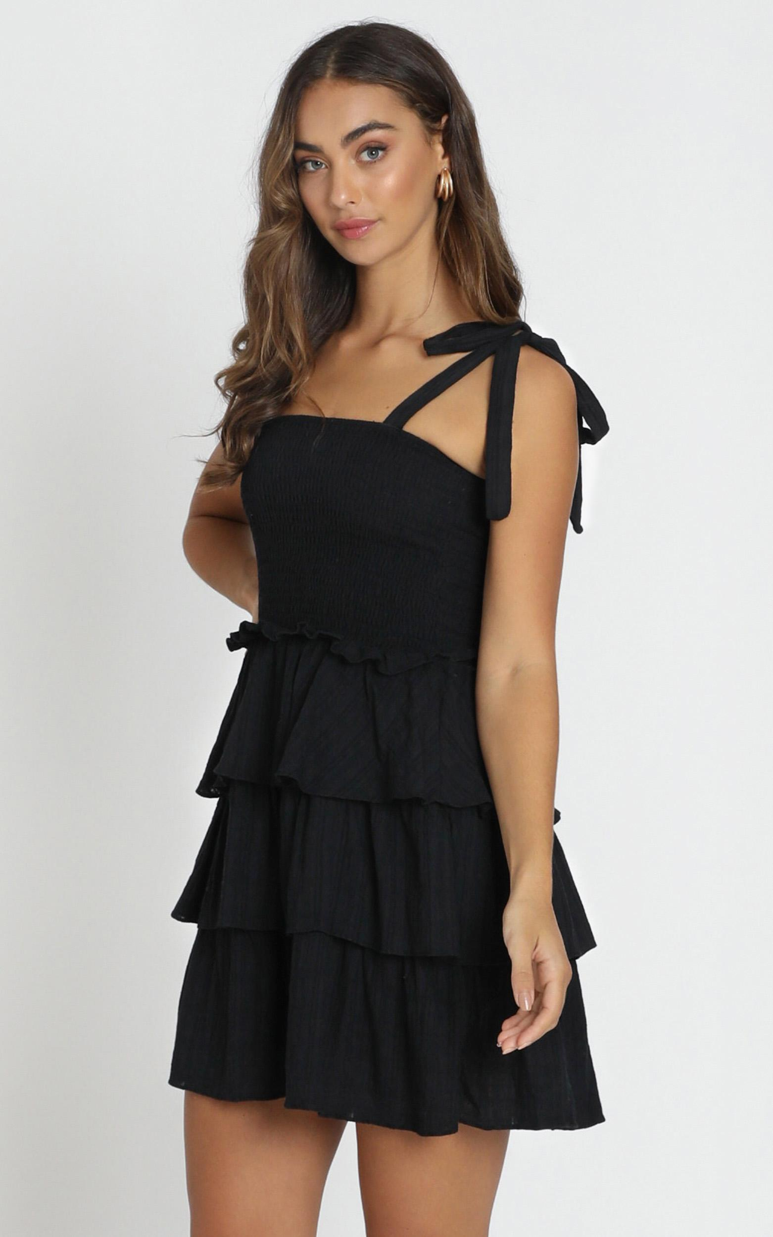 Paislee Tied Dress in black - 6 (XS), Black, hi-res image number null