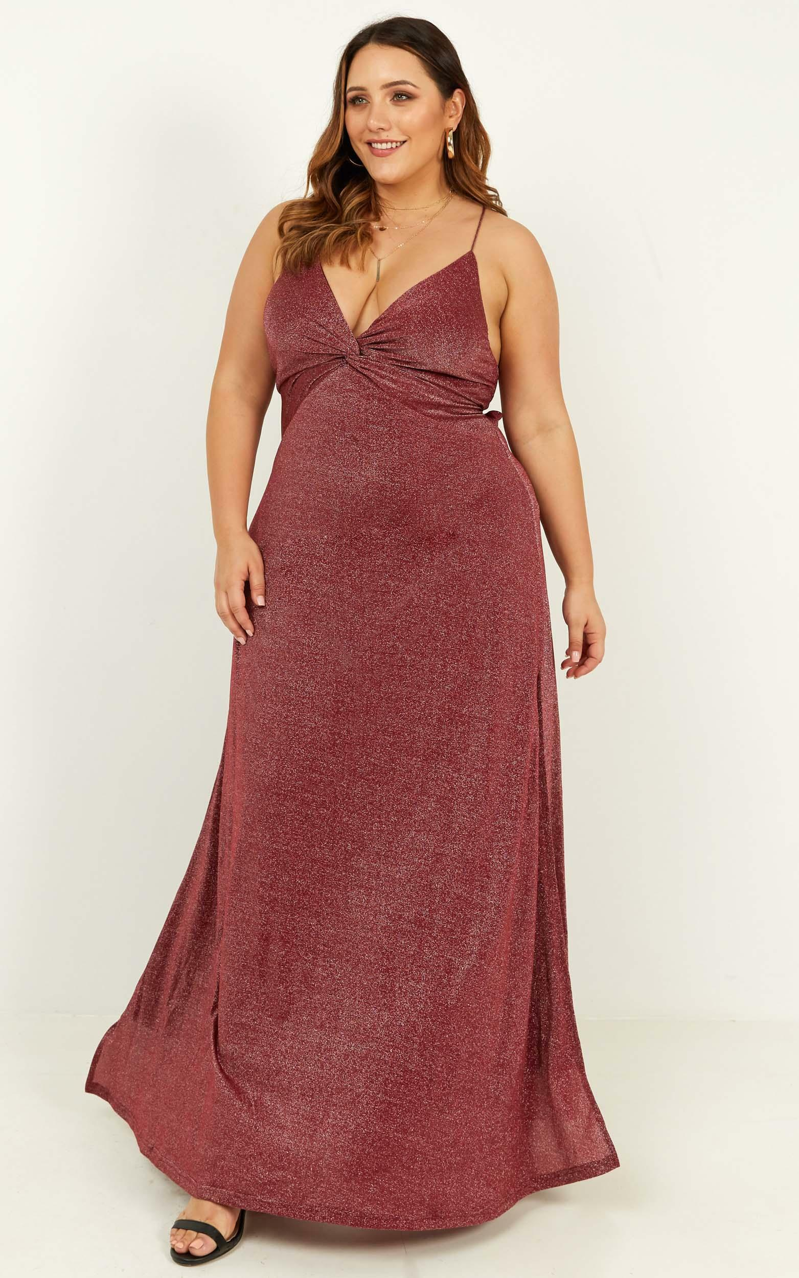 I want to stay dress in wine lurex - 20 (XXXXL), Wine, hi-res image number null