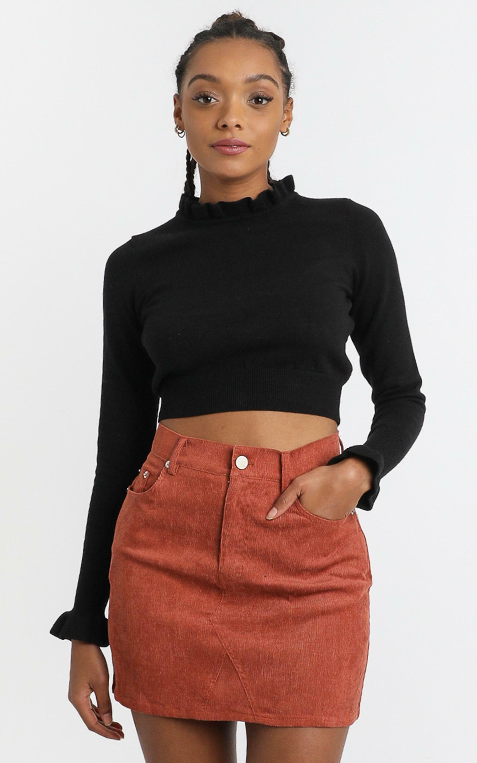 Aisha Skirt in Rust Corduroy - 6 (XS), Rust, hi-res image number null