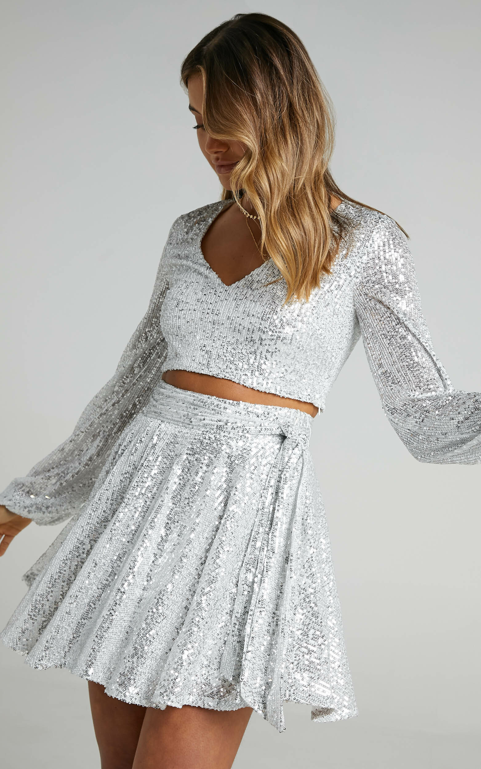 Cami Longsleeve Two Piece Set in Silver Sequin - 06, SLV2, hi-res image number null