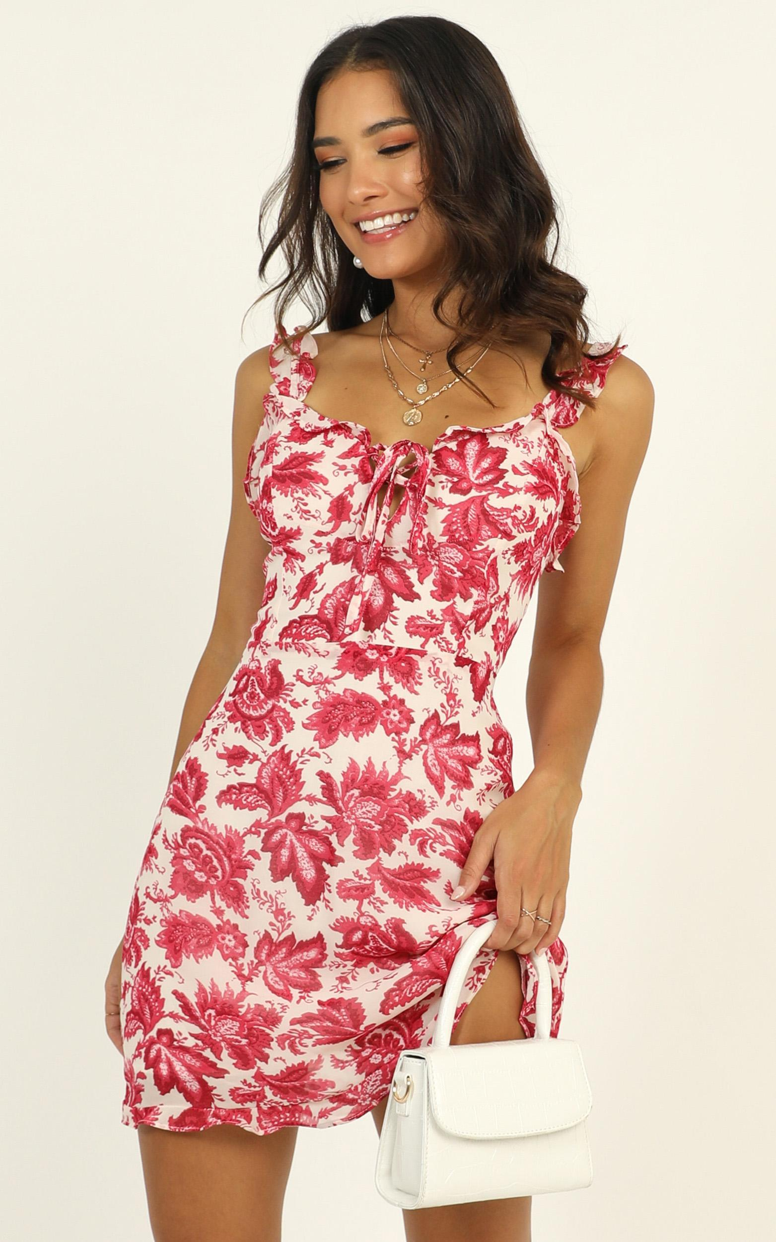Brunch Babe Ruffle Mini Dress in pink floral - 12 (L), Pink, hi-res image number null