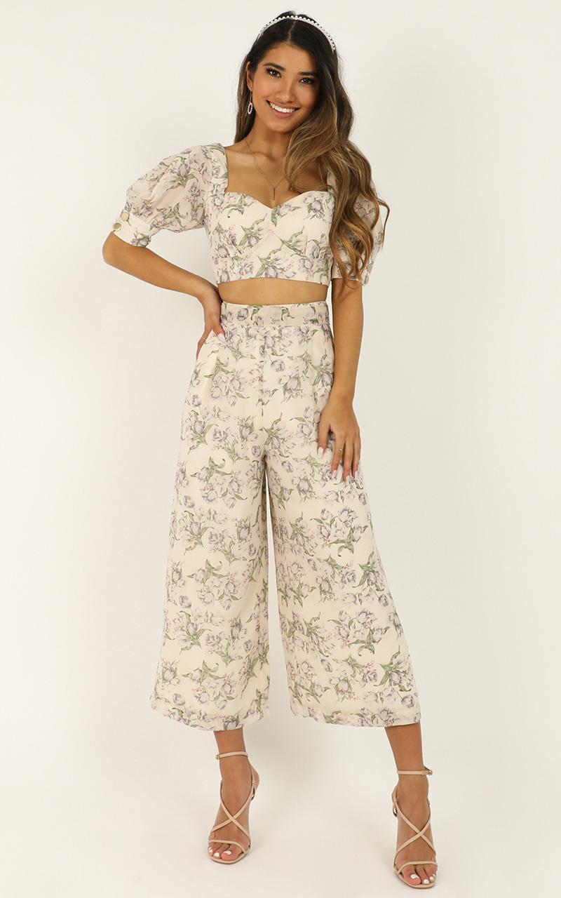 Greatness Two Piece Set In cream floral - 12 (L), Cream, hi-res image number null
