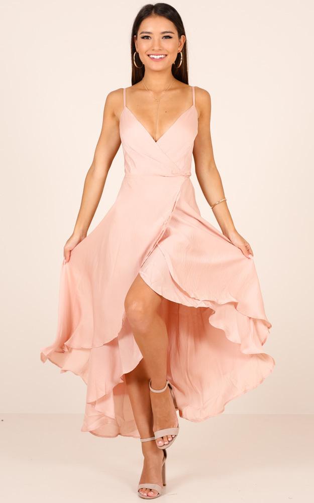 Bad Liar Dress In Blush Satin - 6 (XS), Blush, hi-res image number null