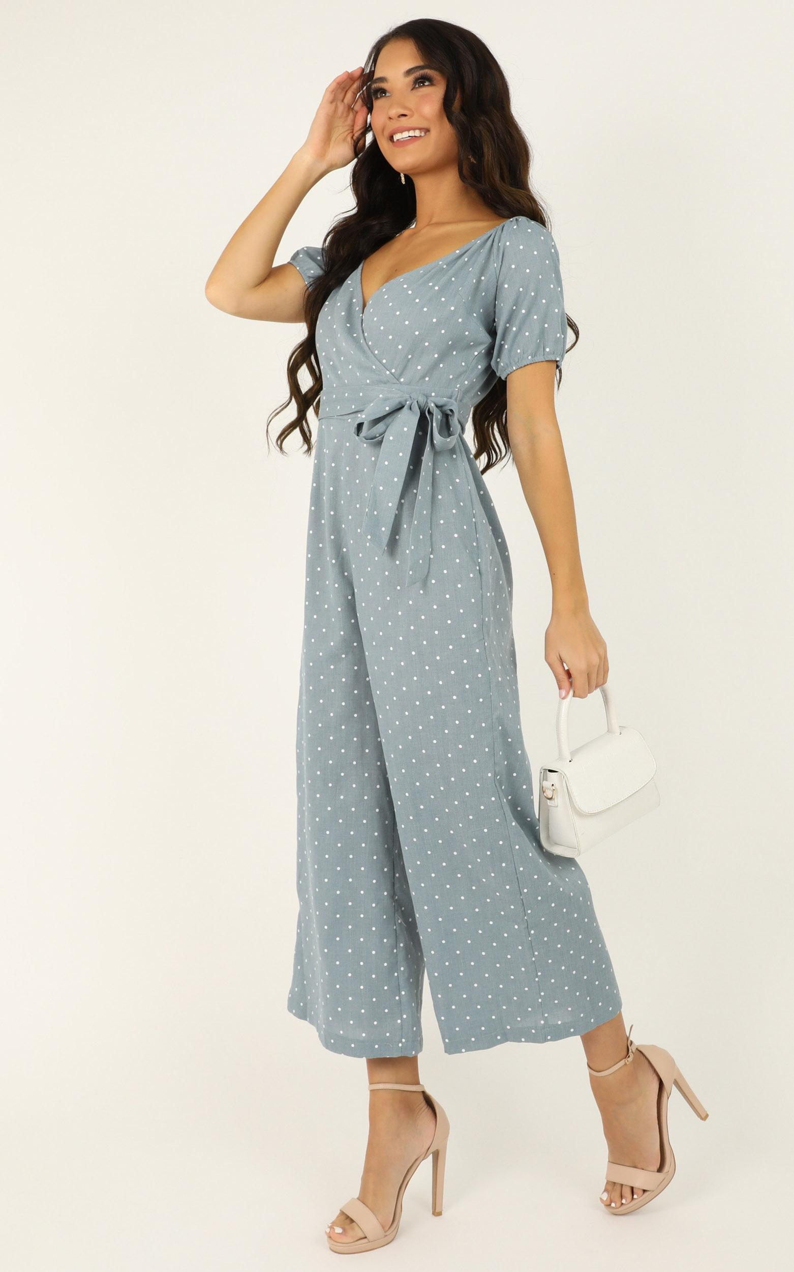 It Aint Over Jumpsuit In blue polka - 20 (XXXXL), Blue, hi-res image number null