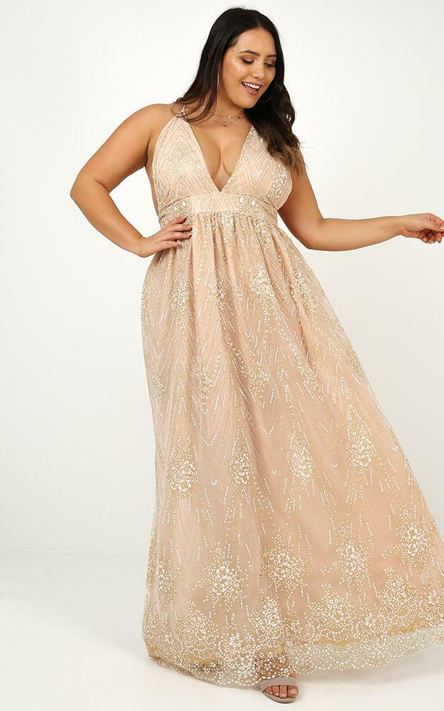 Body Count Maxi Dress in Gold Glitter - 20 (XXXXL), Gold, hi-res image number null
