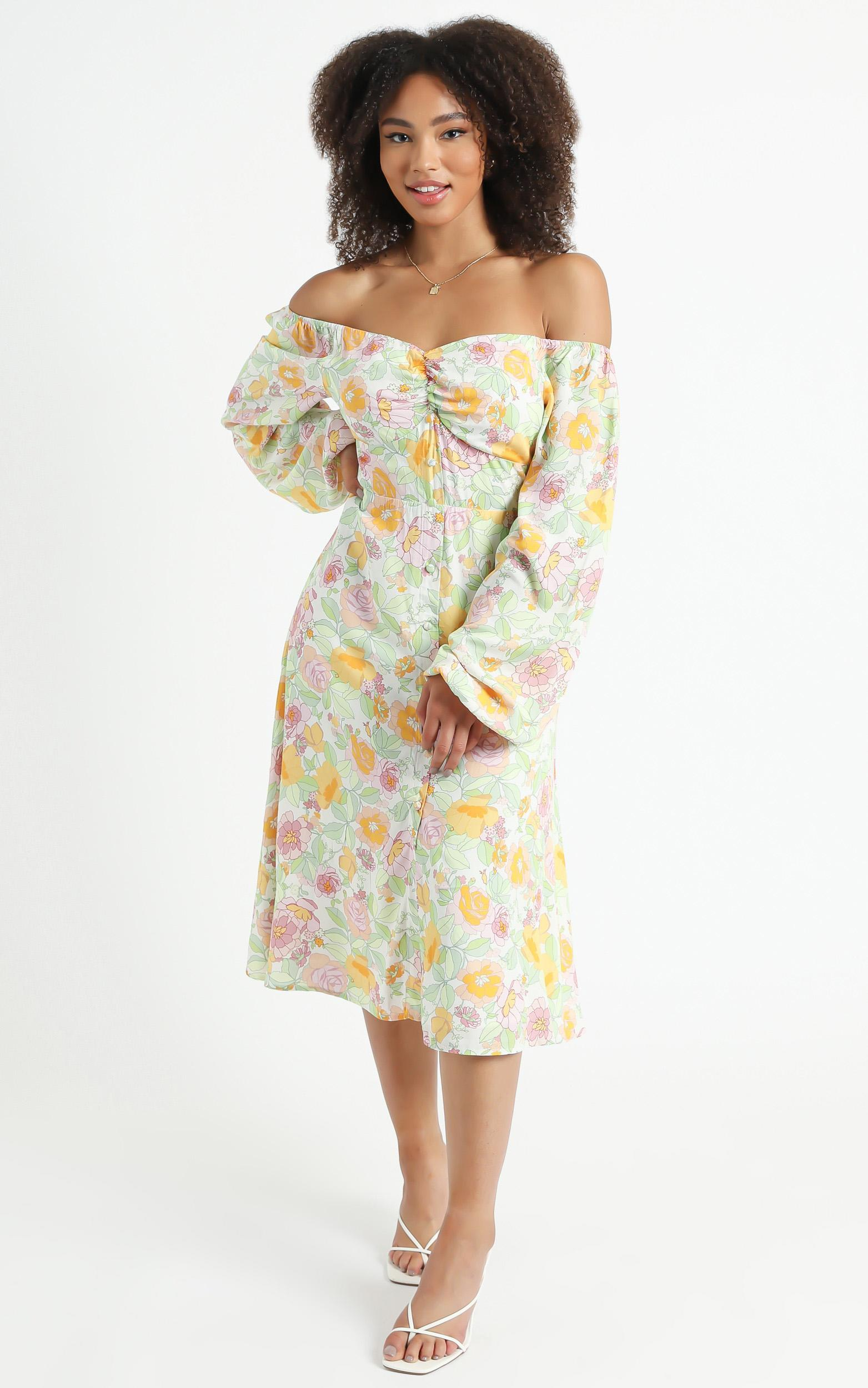 Erinia Dress in Linear Floral - 06, CRE1, hi-res image number null