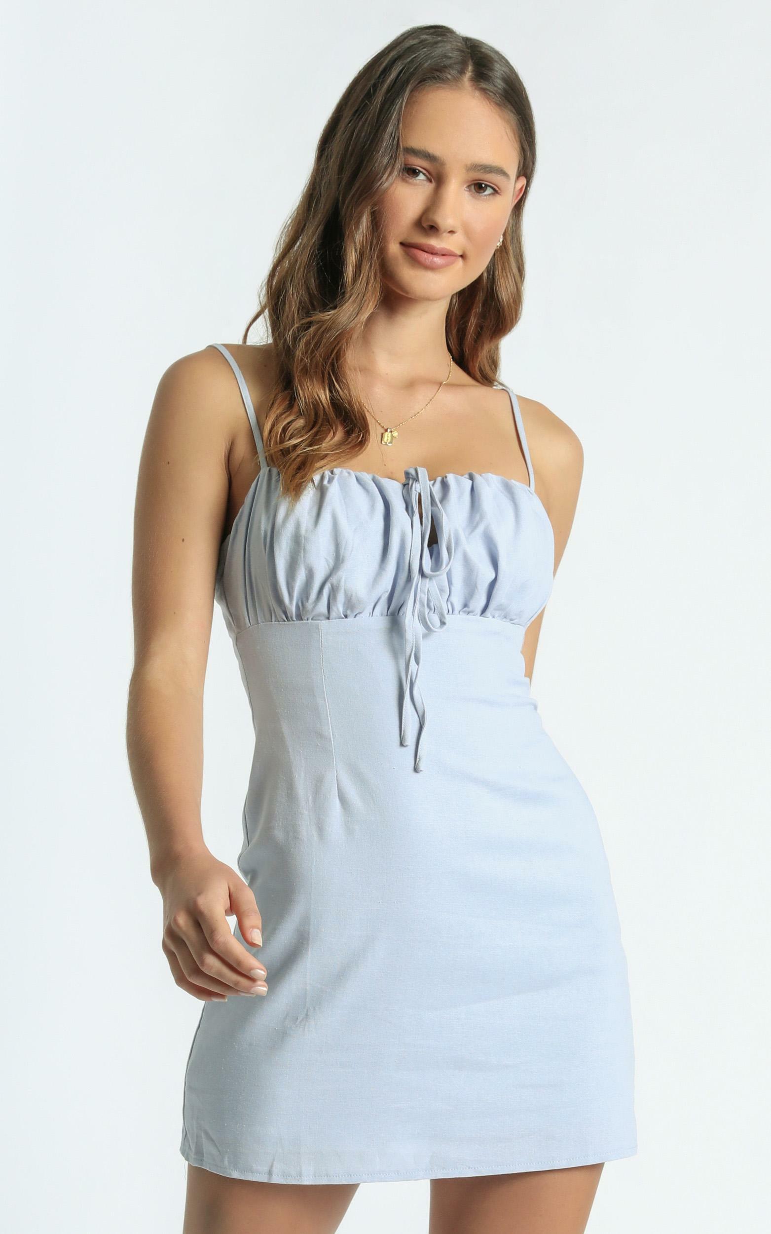 Break Free With Me Dress in Blue Linen Look - 10, BLU2, hi-res image number null