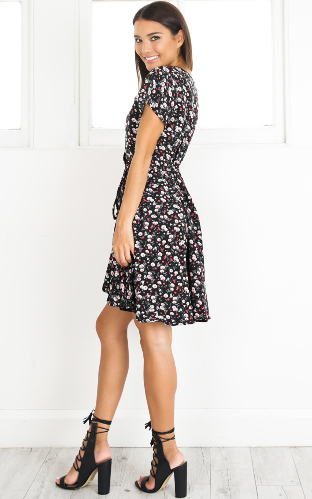 At Ease dress in black and red floral - 14 (XL), Black, hi-res image number null